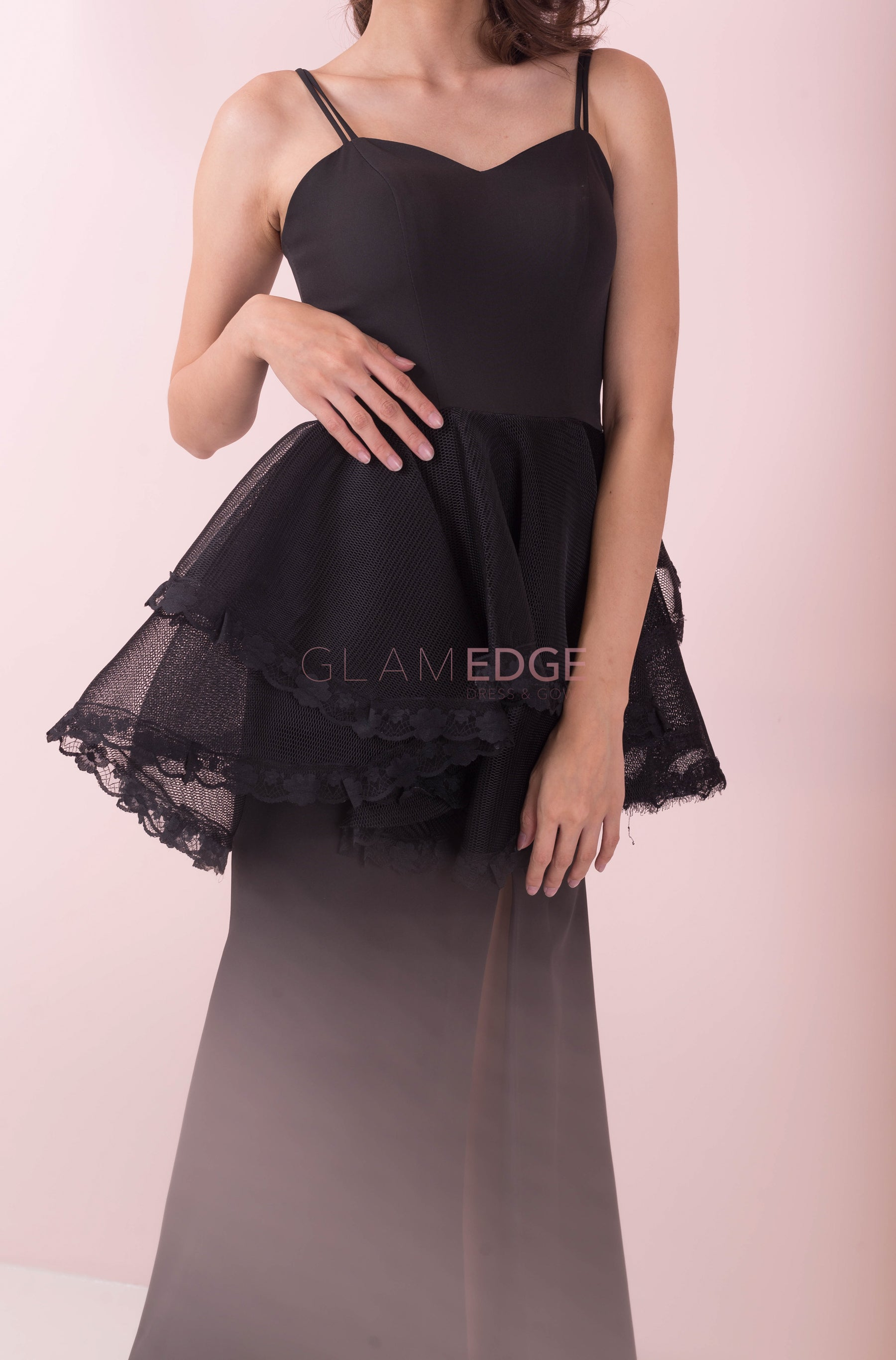 Lite Black Lace Peplum Dress (Sale)