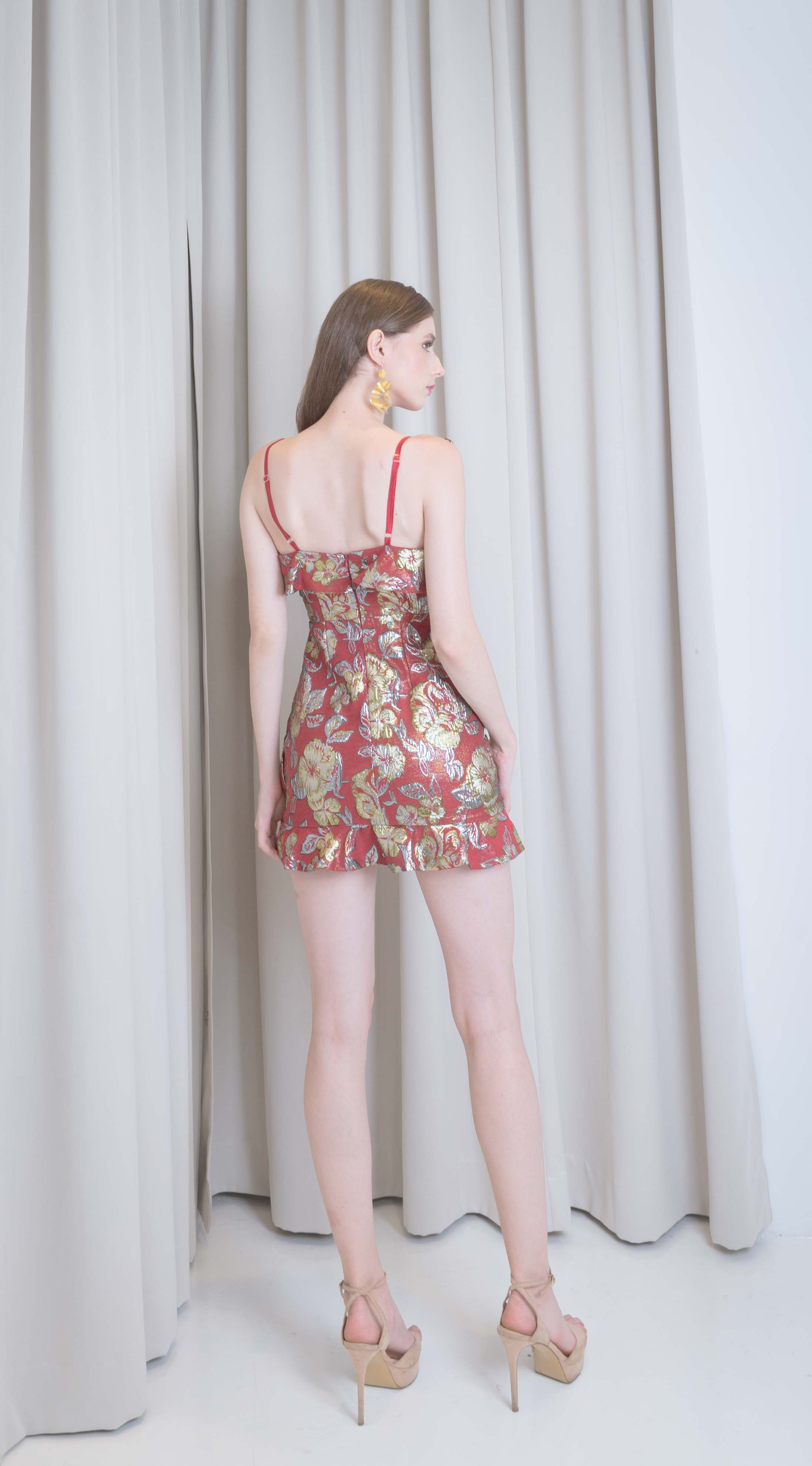Lily Gold Foil Red Dress