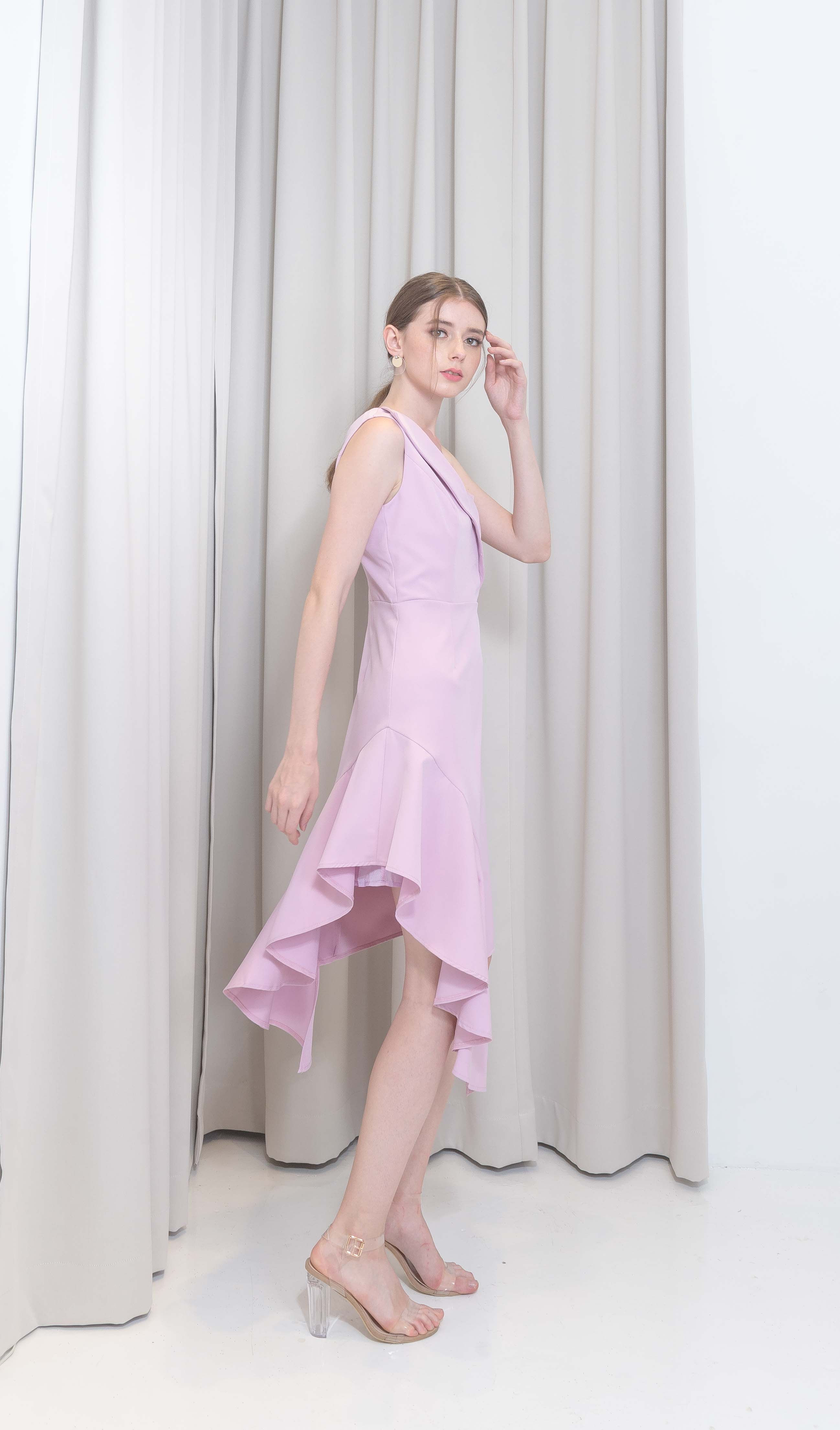 Pinkish Purple Ruffle Dress