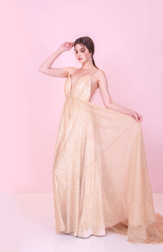 Grace Backless Gold Gown