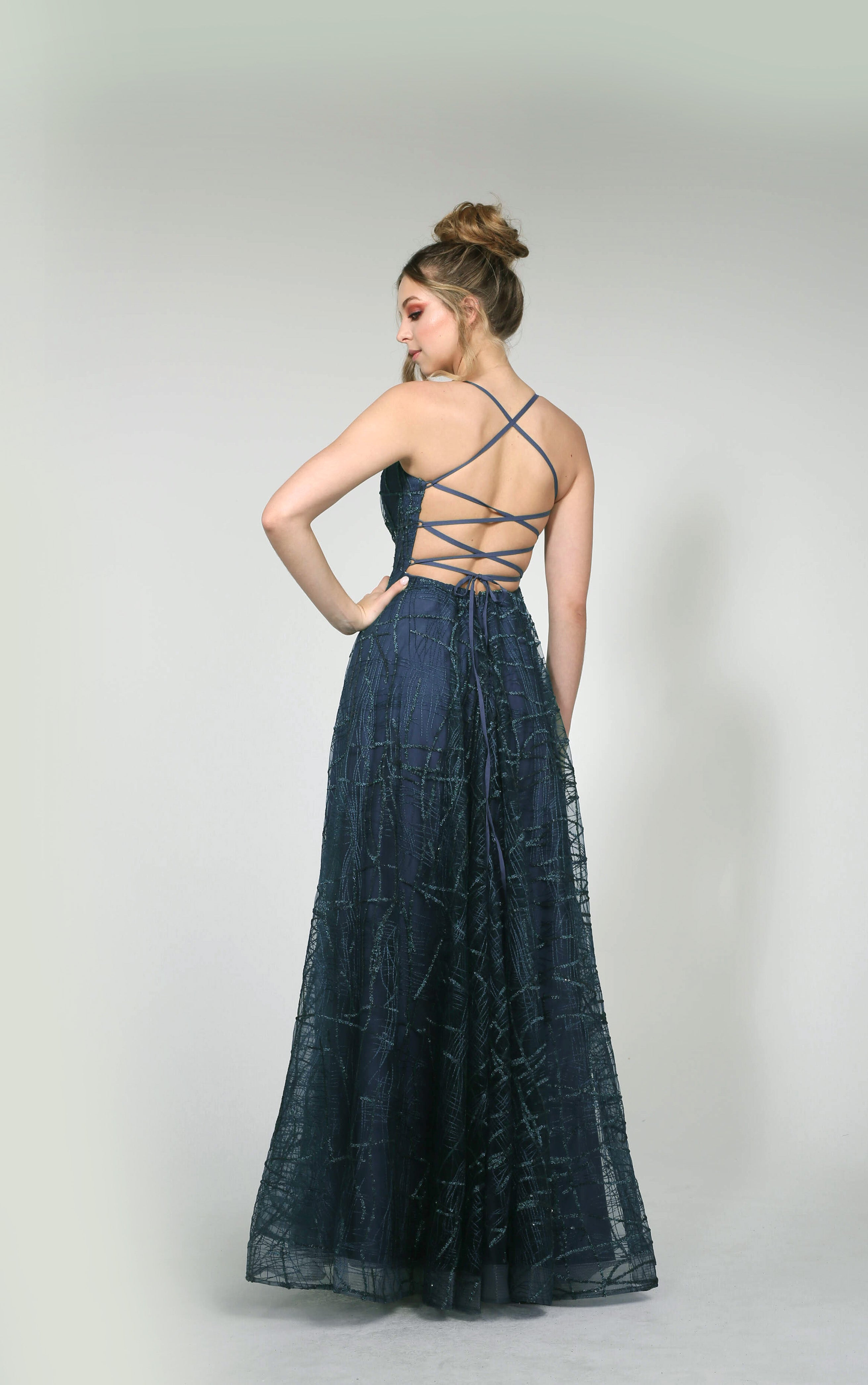 H Aphro Navy Flare Gown