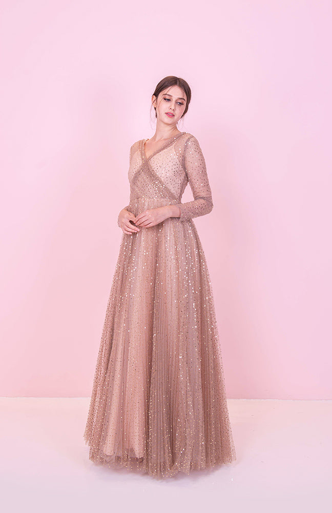 Hidden In the Stars Long Sleeve Gown