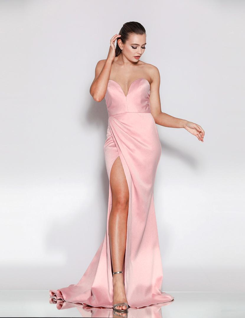 JA Sweetheart Silky Pink Gown