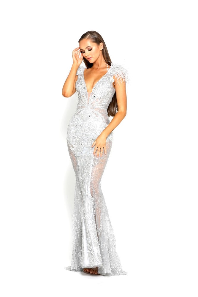 PS Soleil Furry Silver Gown
