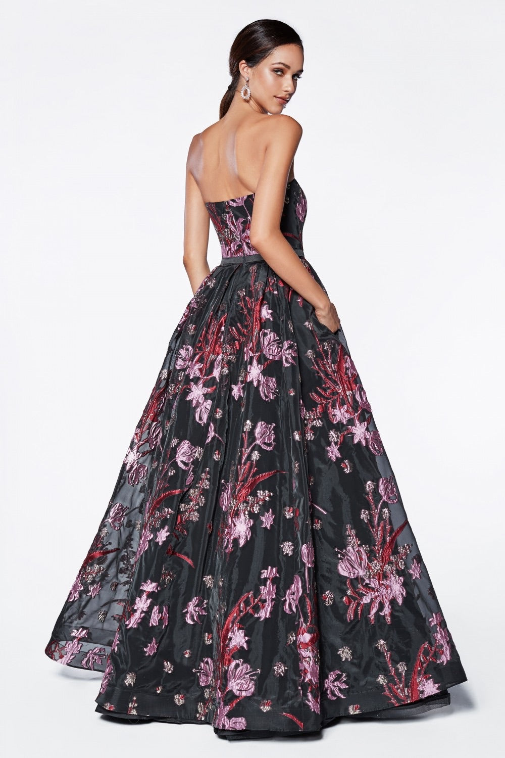 CD Jovani Lost in Dark Floral Gown