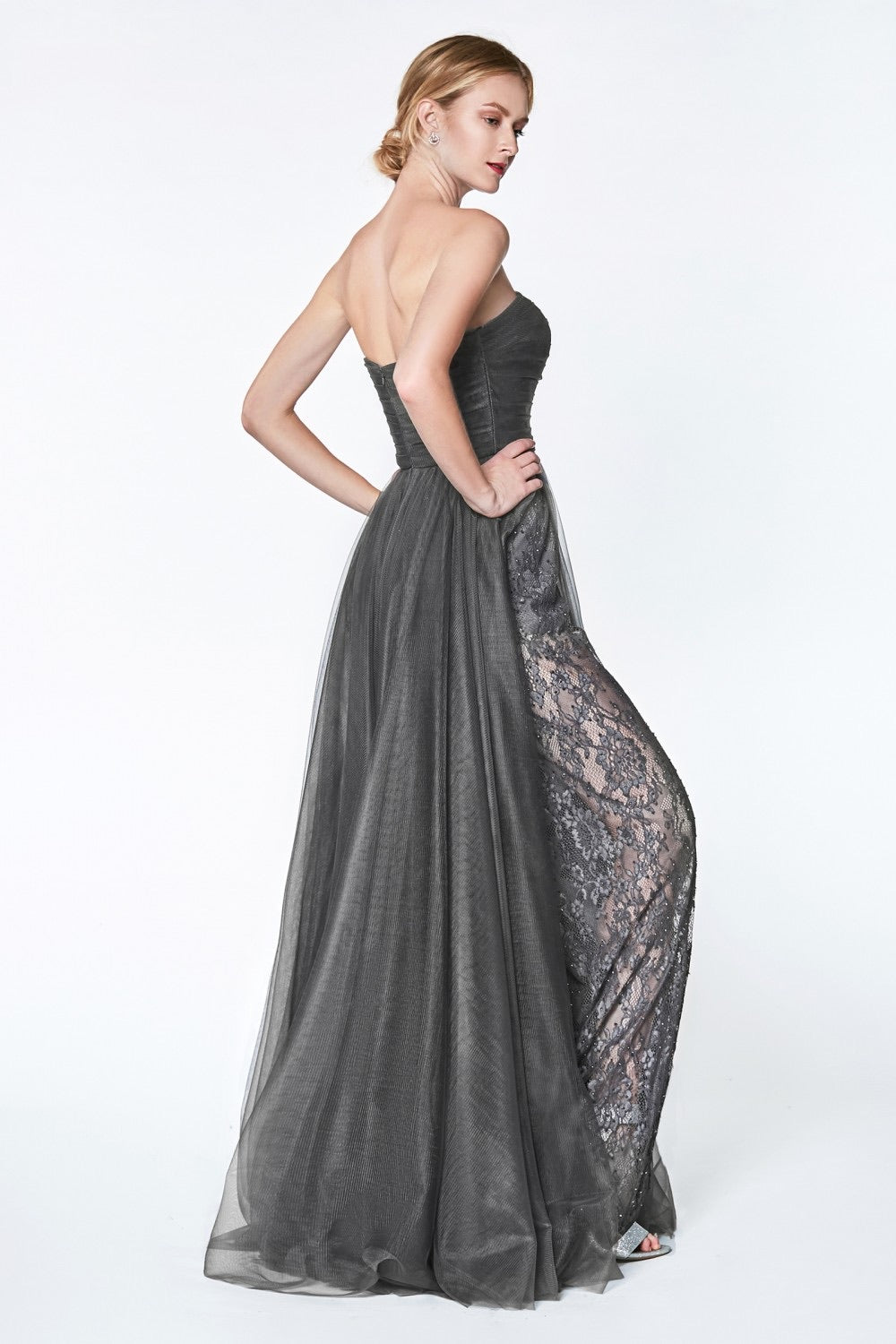 CD Cinderella Grey Lace Pant Gown
