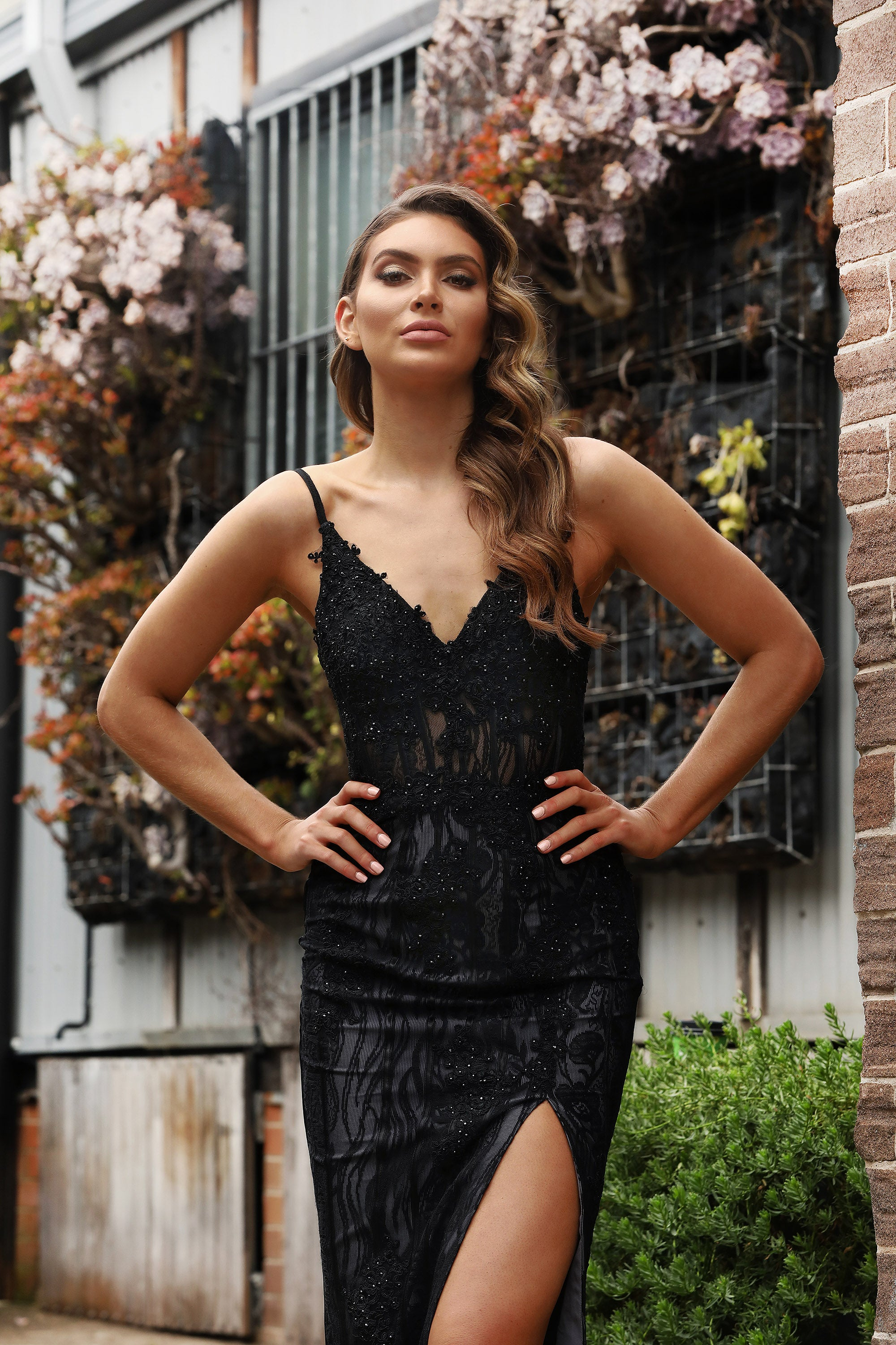 JA Lace Black Diamond Slit Gown