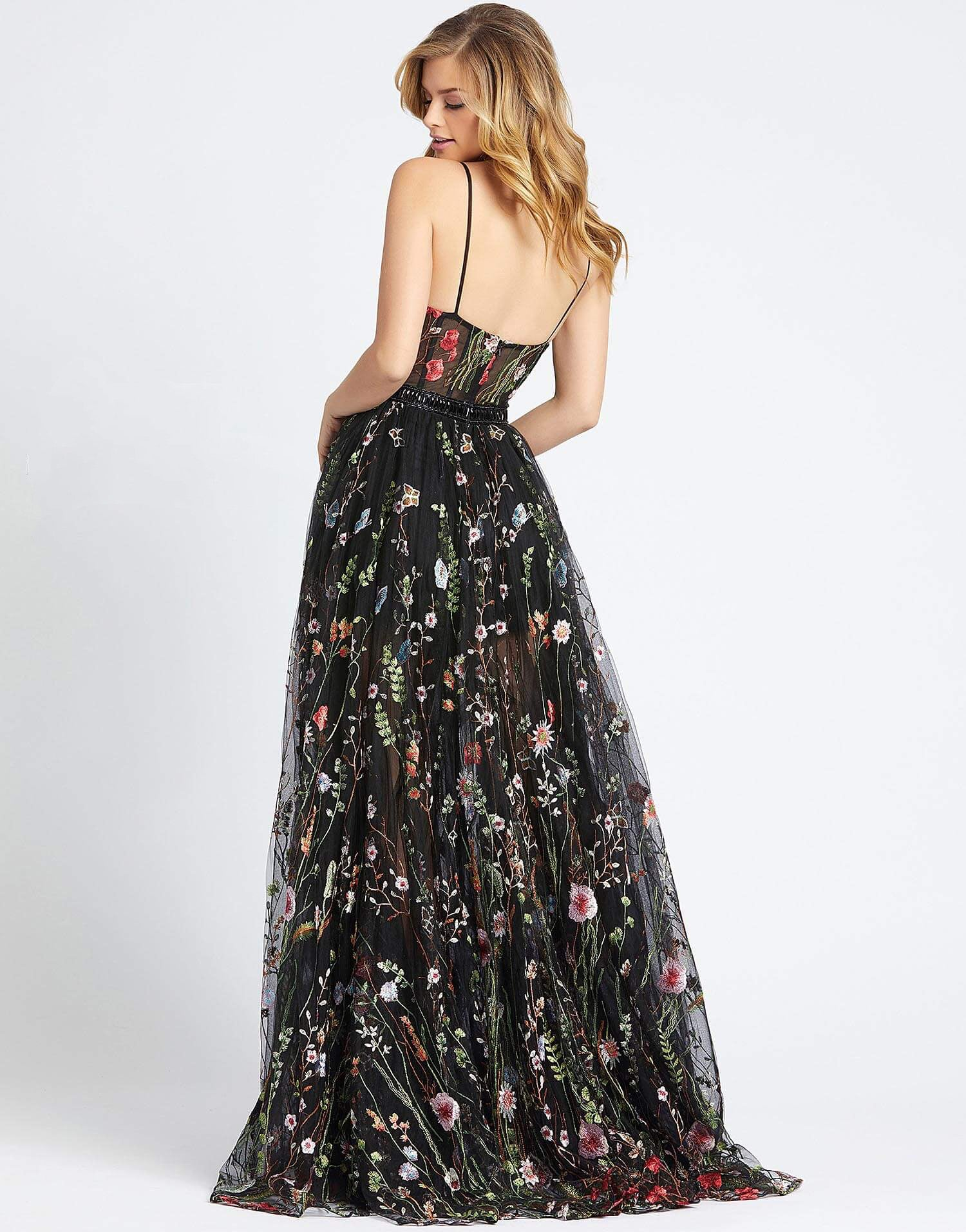 MD Garden Floral Black Gown
