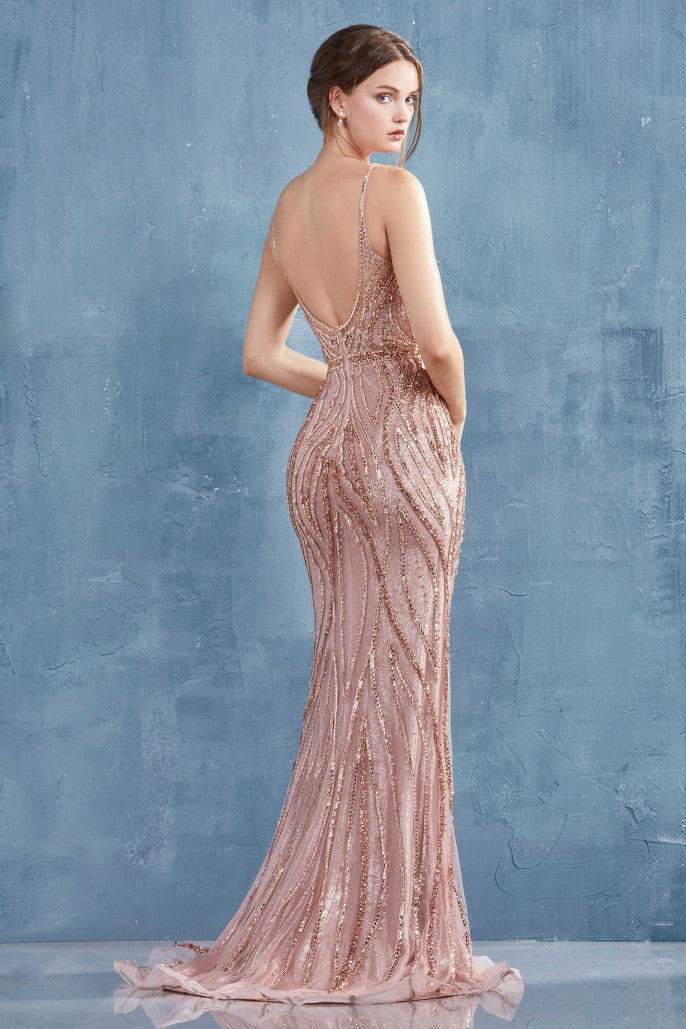 AL Alexa Flame Rose Gold Gown