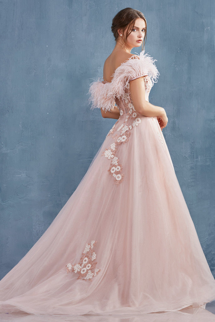 AL Diana Furry Feather Blush Gown