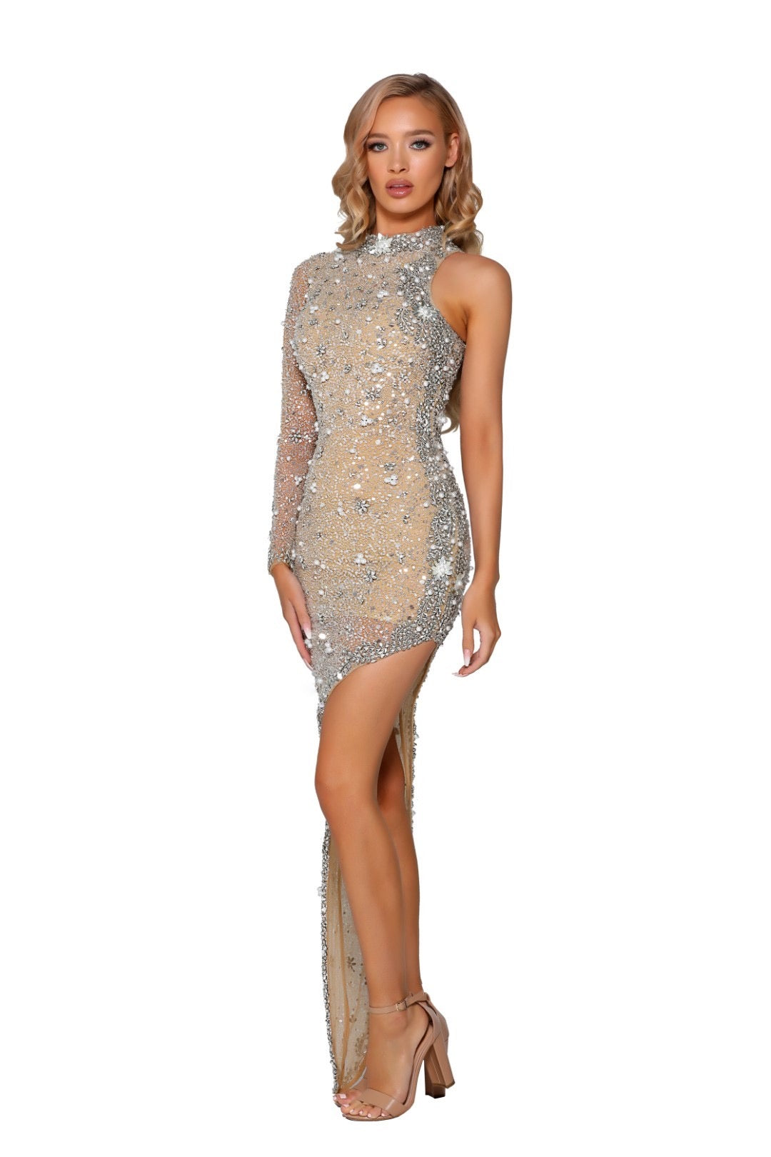 PS Sheila One Shoulder Champagne Gown