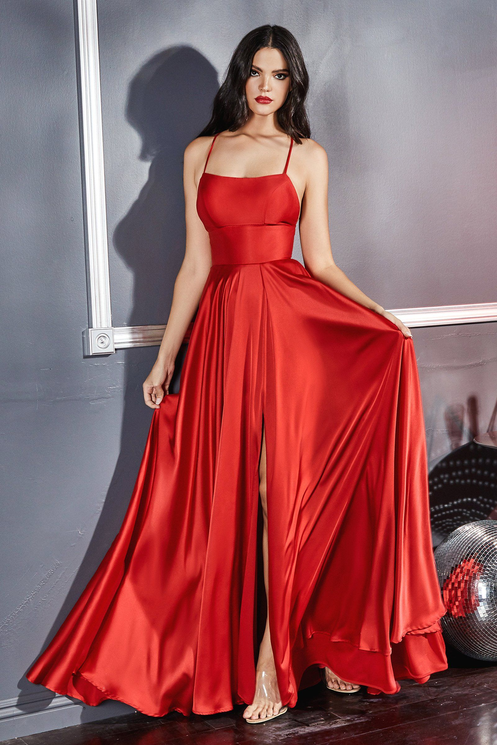 CD Silk Red Back Tie Gown