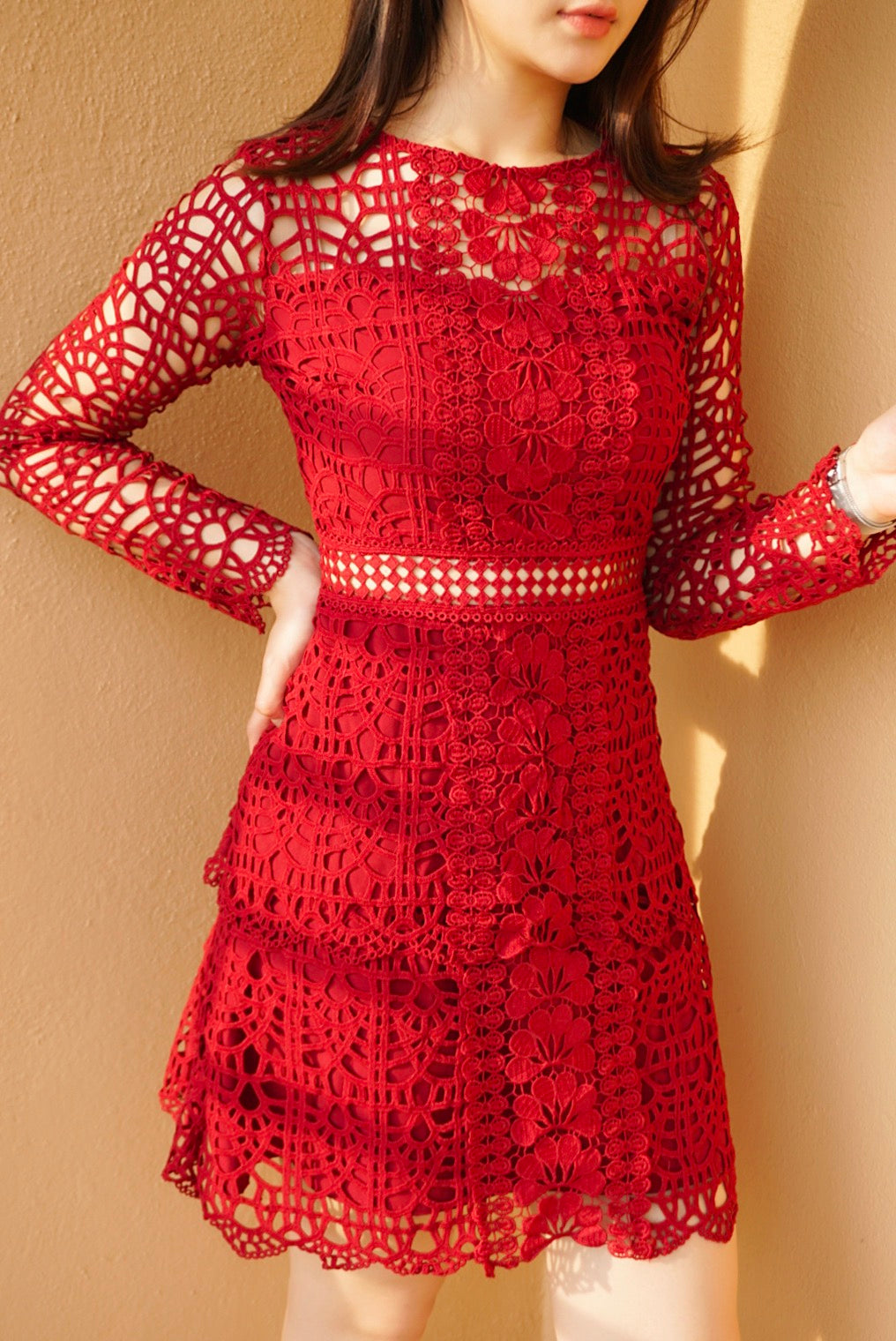 *LAST PIECE* Hosk Floral Lace Red Dress