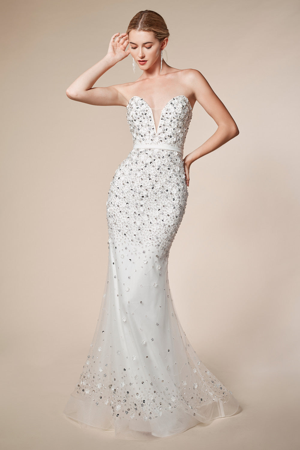 AL Sweetheart Springrain Beaded Mermaid Gown