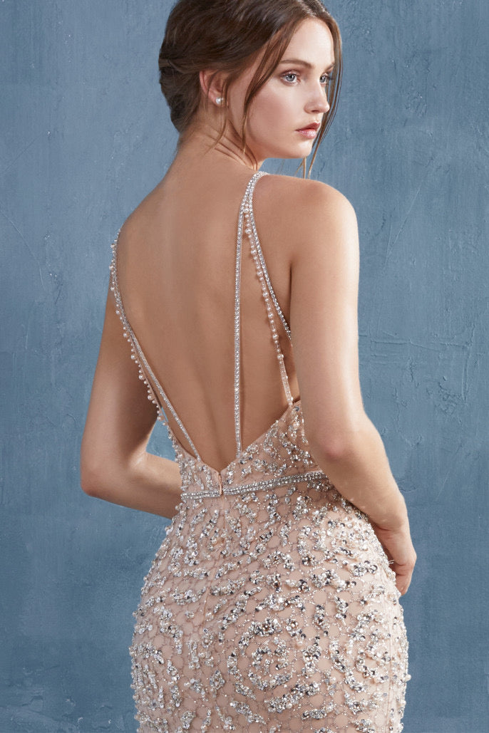 AL Venus Beaded Blush Gown