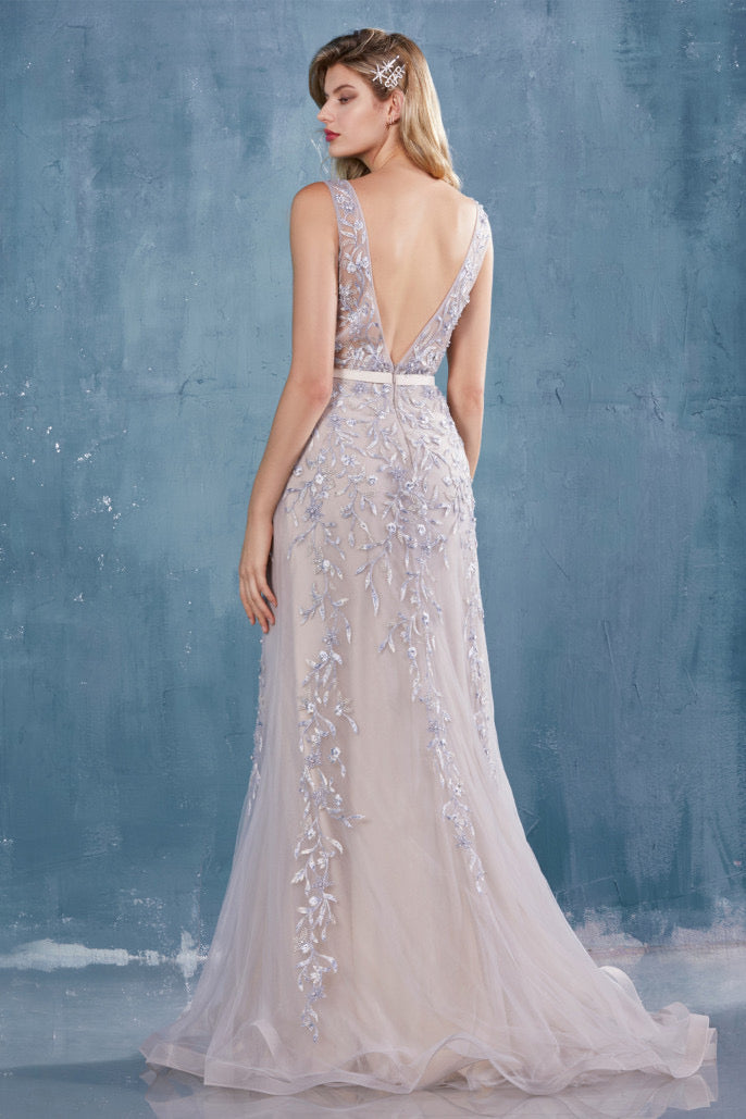 AL Hera Light Floral Beaded Lace Gown