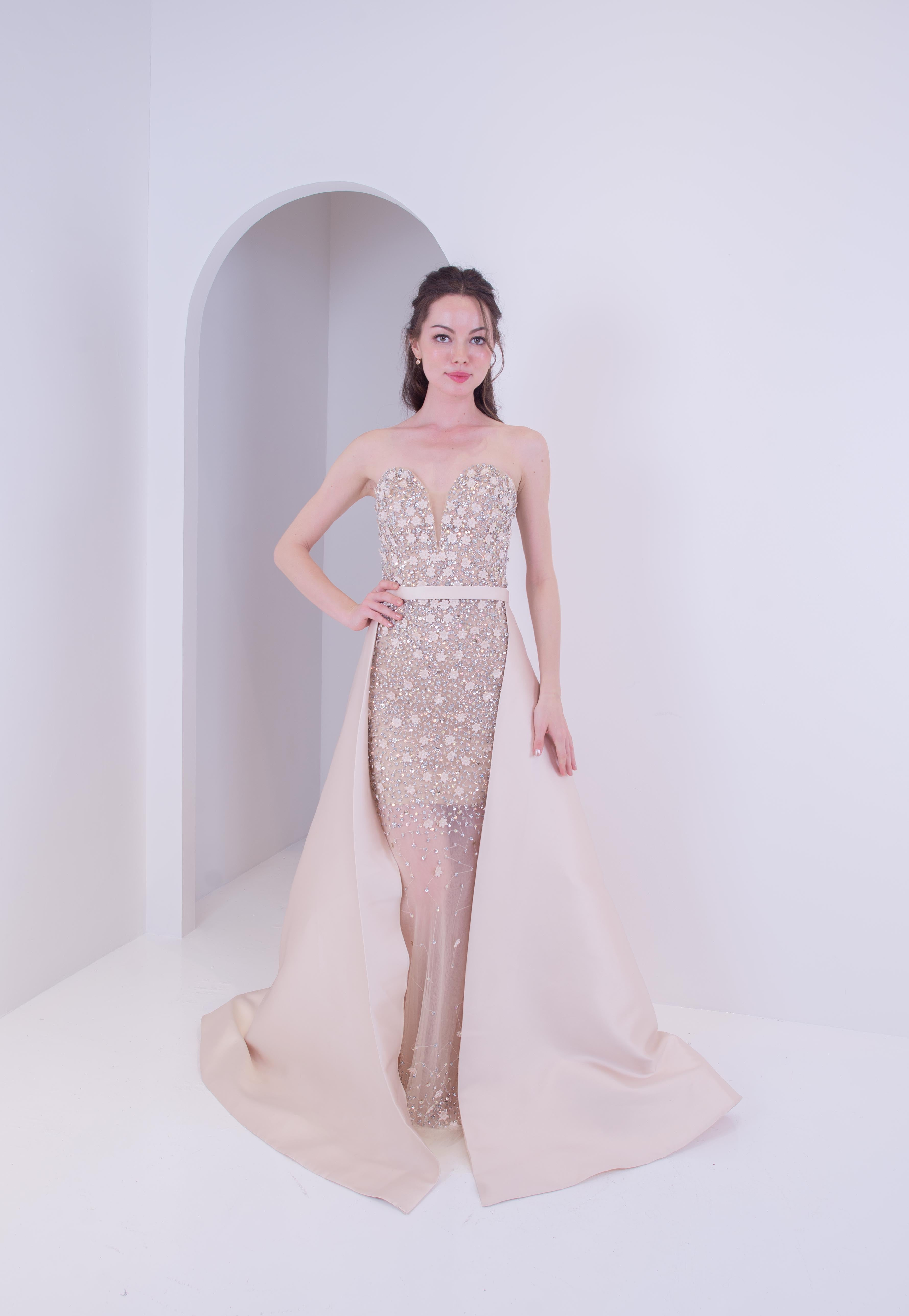 Eos Champagne Gold Overskirt Gown