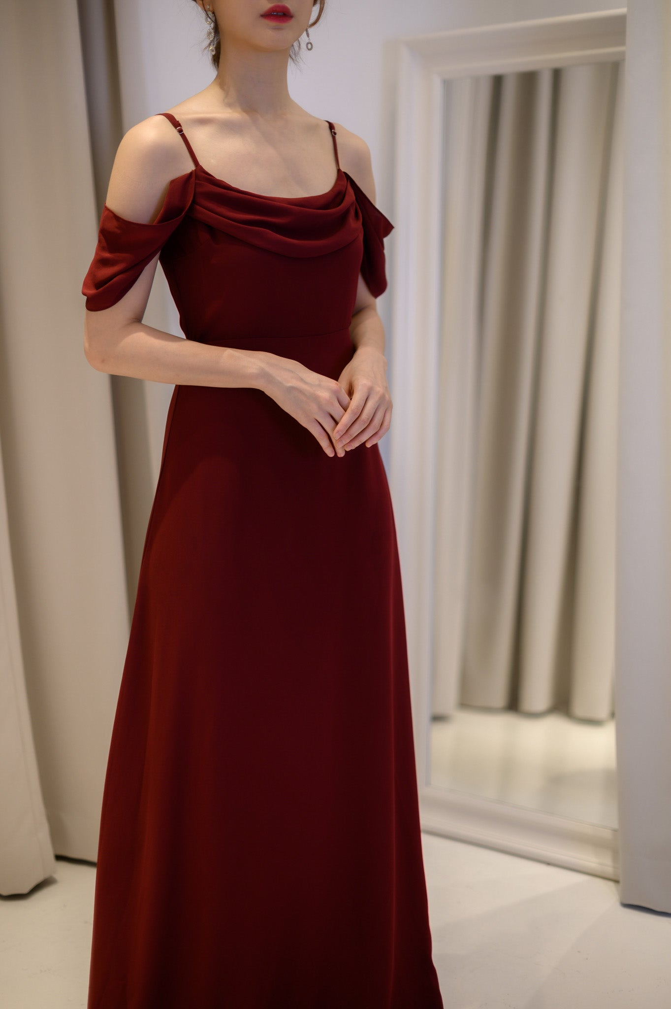 Maroon Chiffon Long Dress