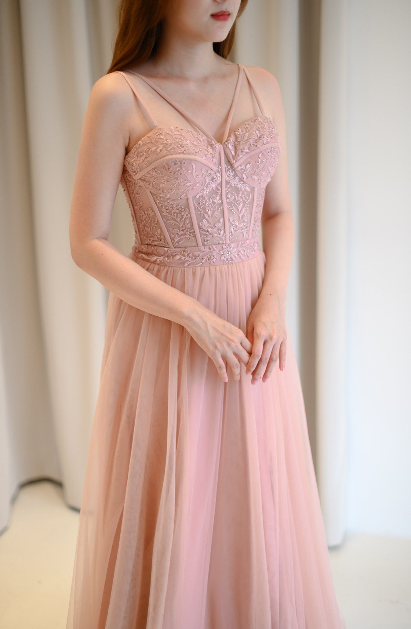 Lace Corset Dusty Pink Gown