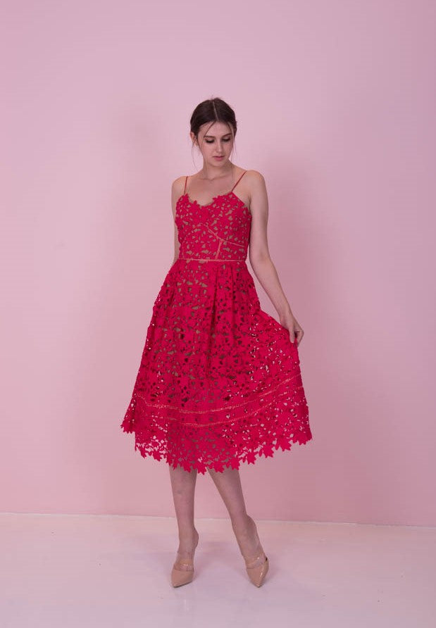 *LAST PIECE* All Day Lace Pink Dress