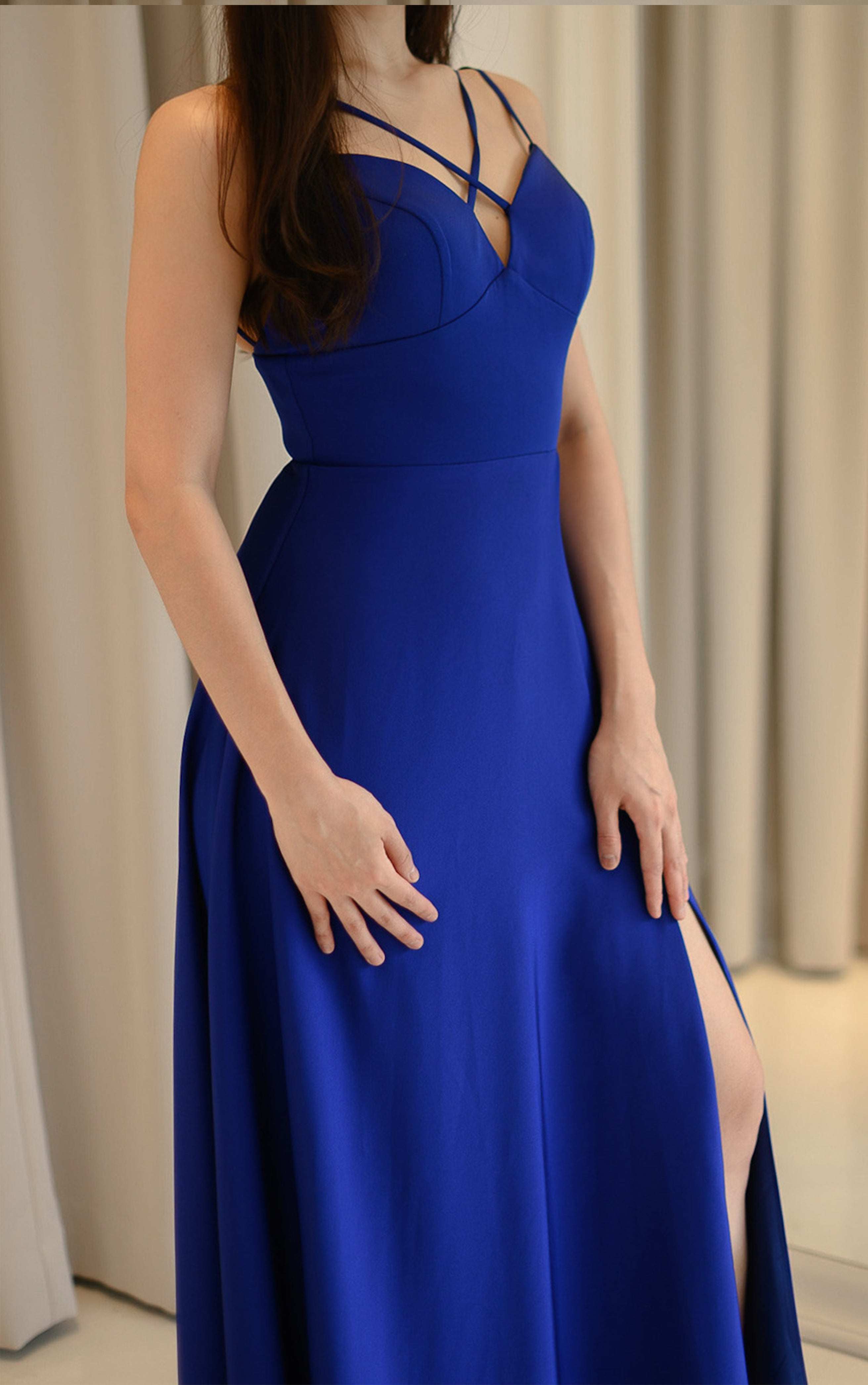 Lucie Navy Slit Gown