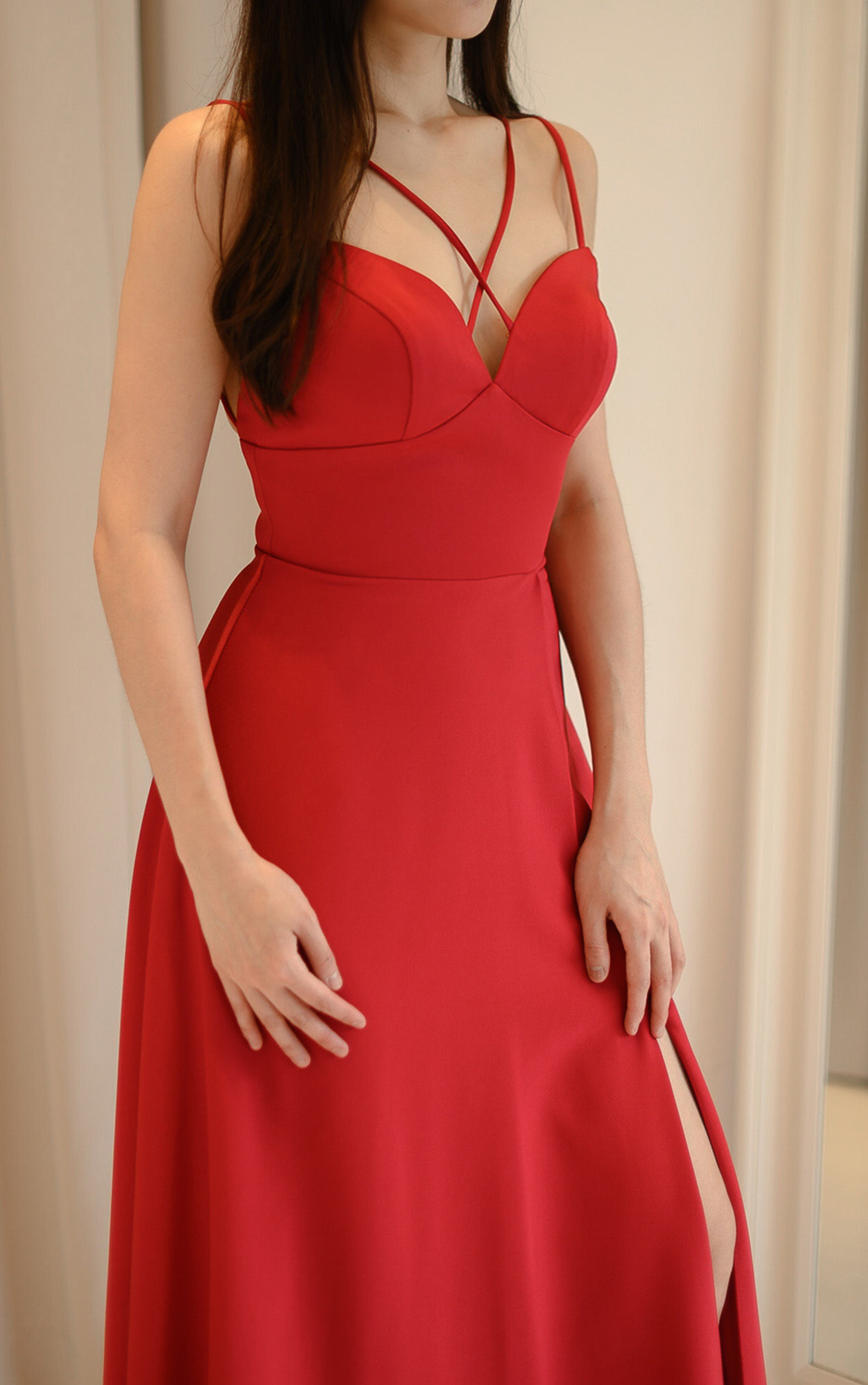 Lucie Red Slit Gown