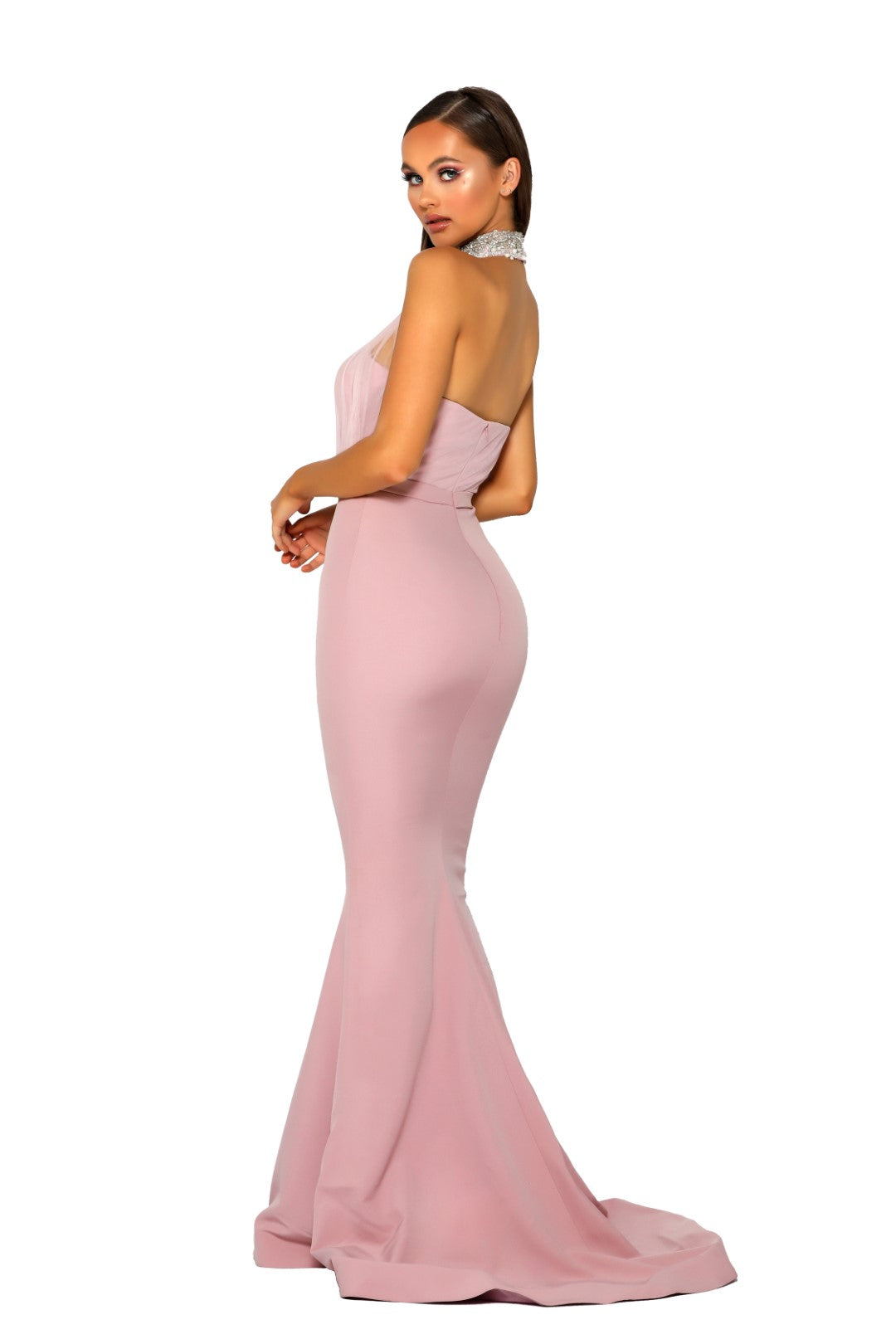 PS Blush Halter Sheer Gown