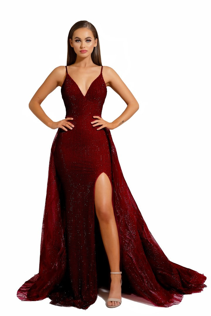 PS Crystal Stone Red Mermaid Gown