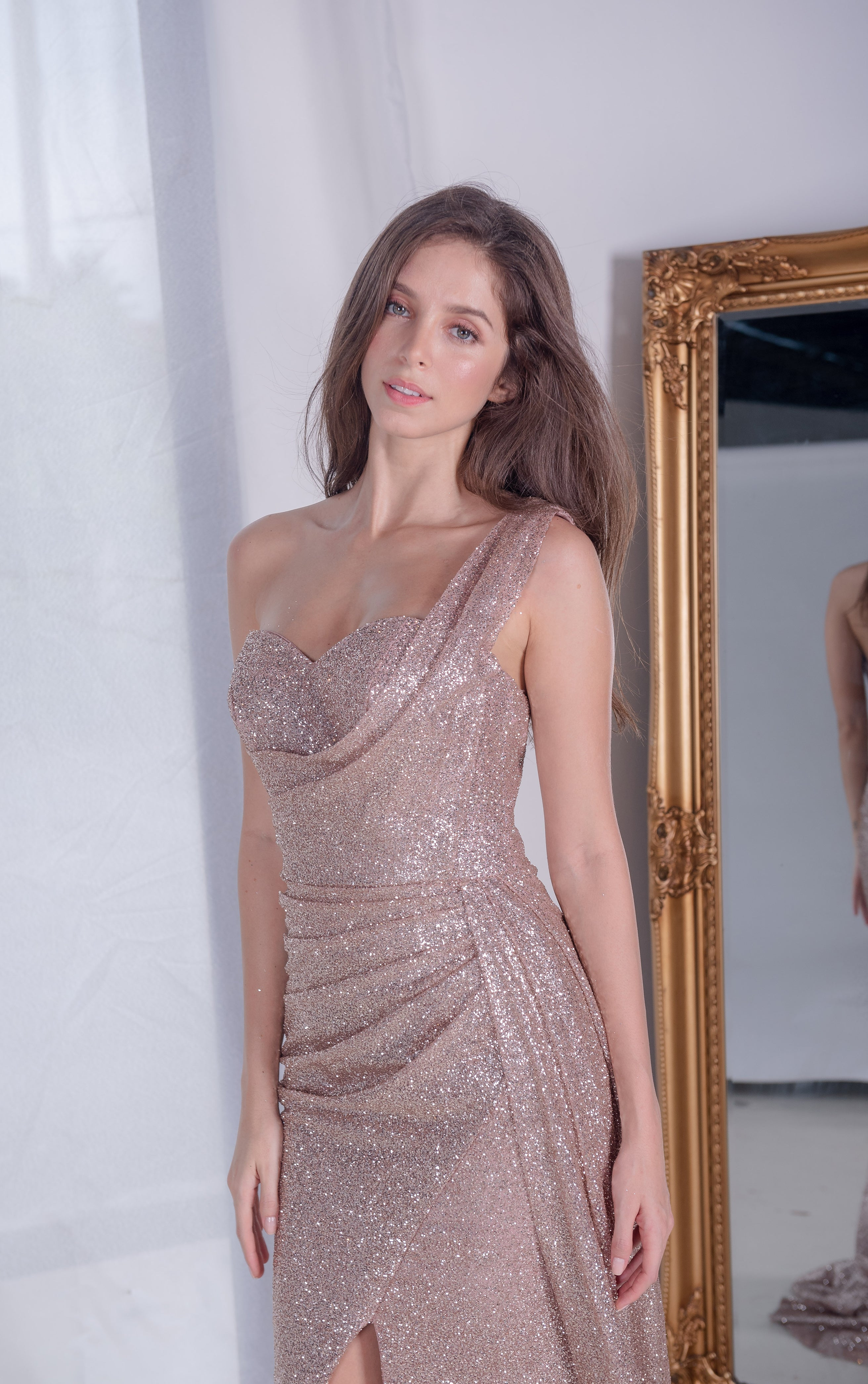 PS Rose Bronze One Shoulder Gown