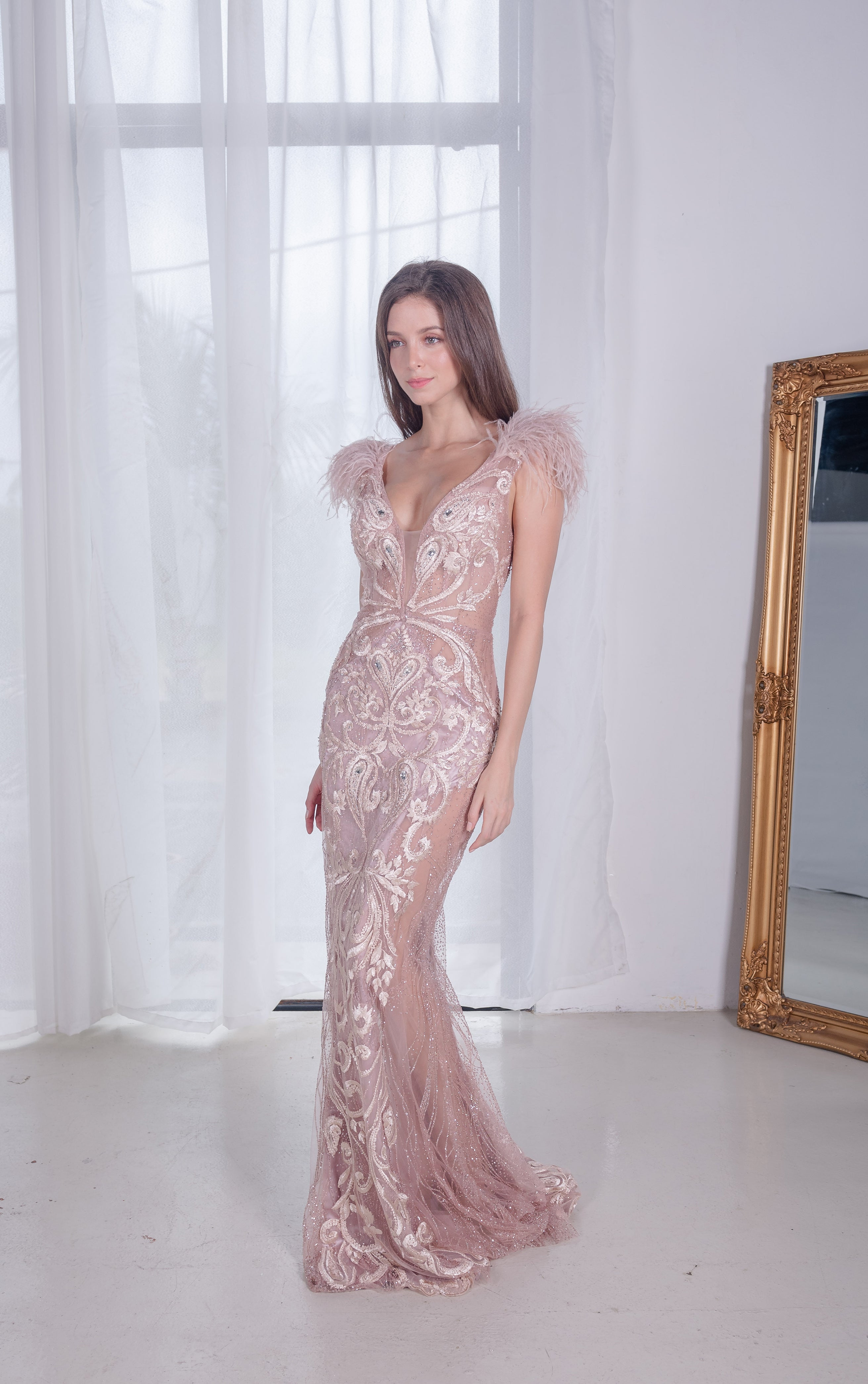 PS Soleil Furry Rose Gold Gown