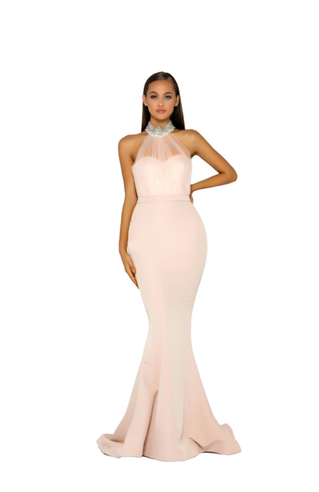 PS Stone Halter Sheer Gown