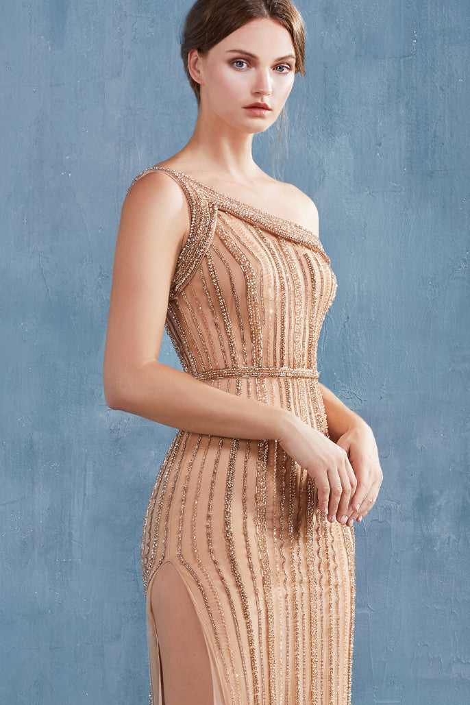 AL Olympia Muse Gold Slit Gown
