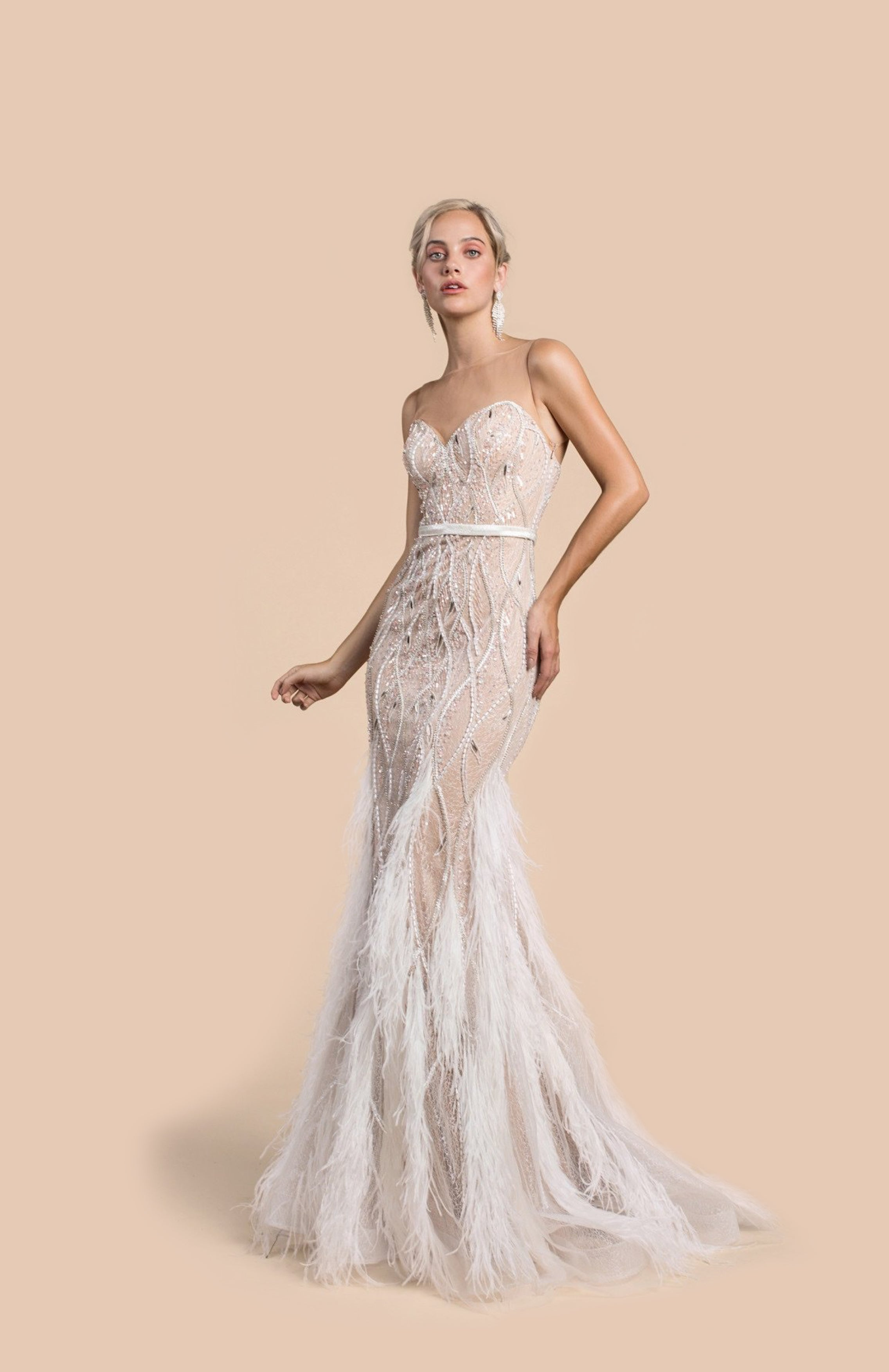 Pre Order AL Curvilinear Bead Feather Gown