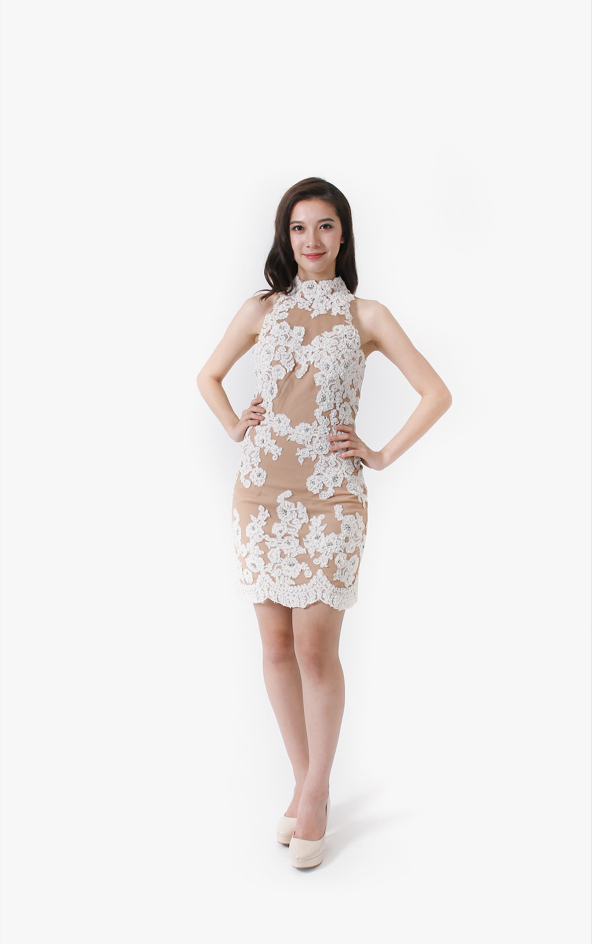 White Petal Embroidered Dress