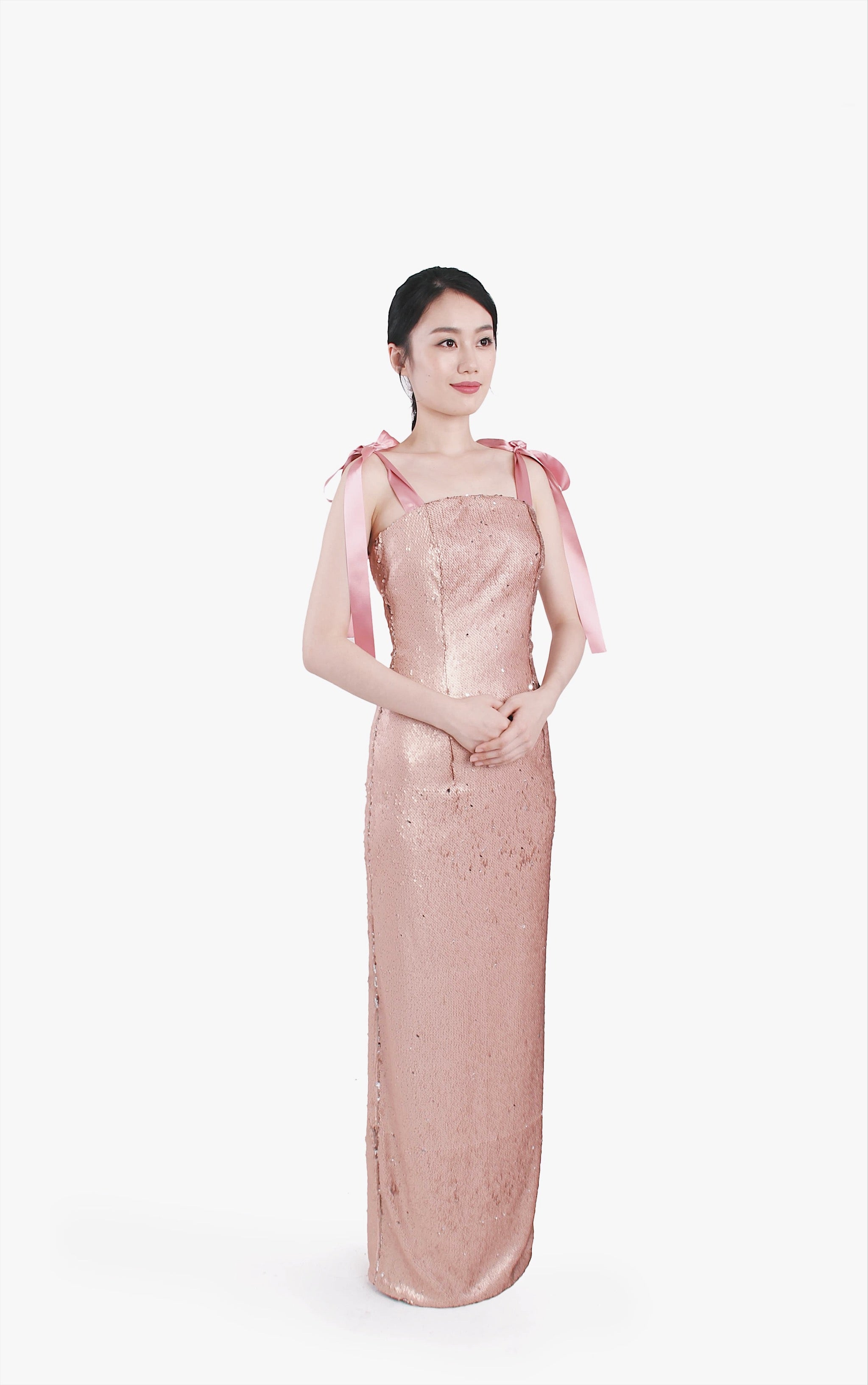 Misha Rose Bronze Sequin Gown