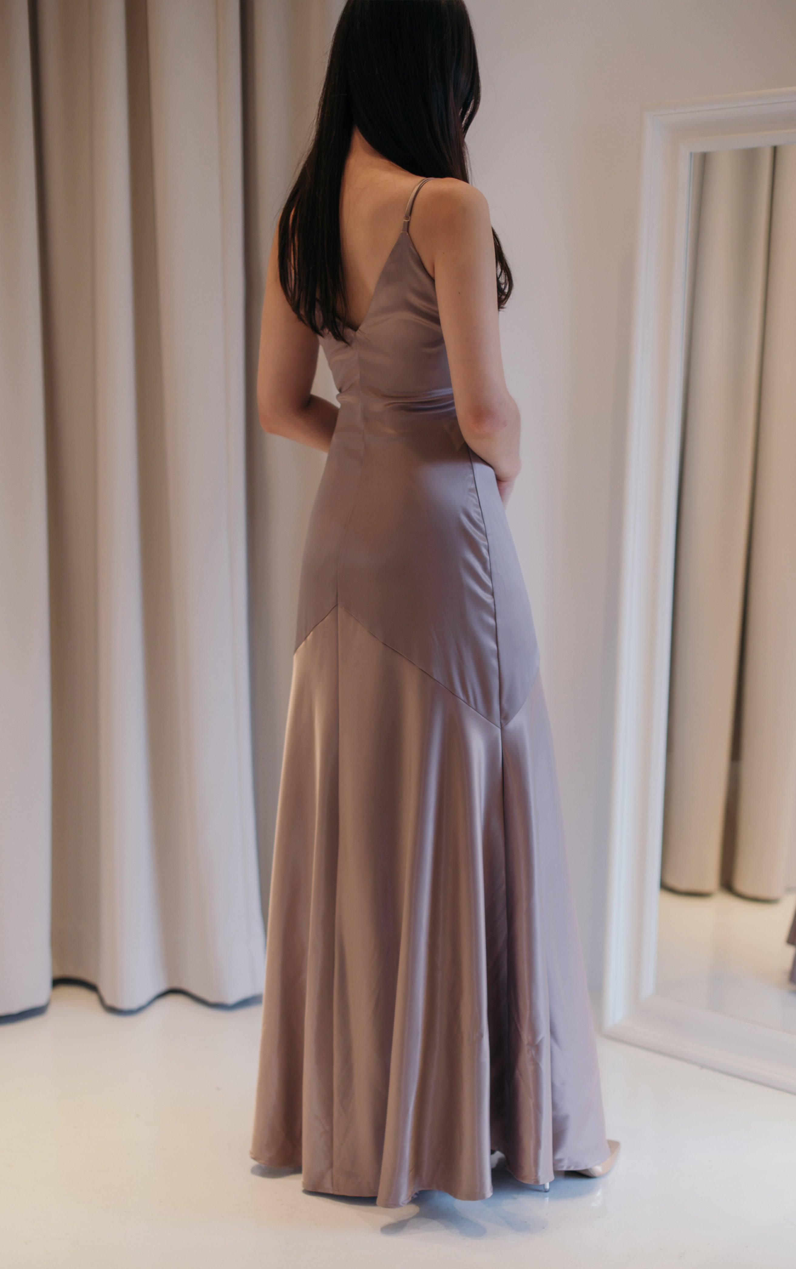 Sake Bronze Grey Silky Midi Dress
