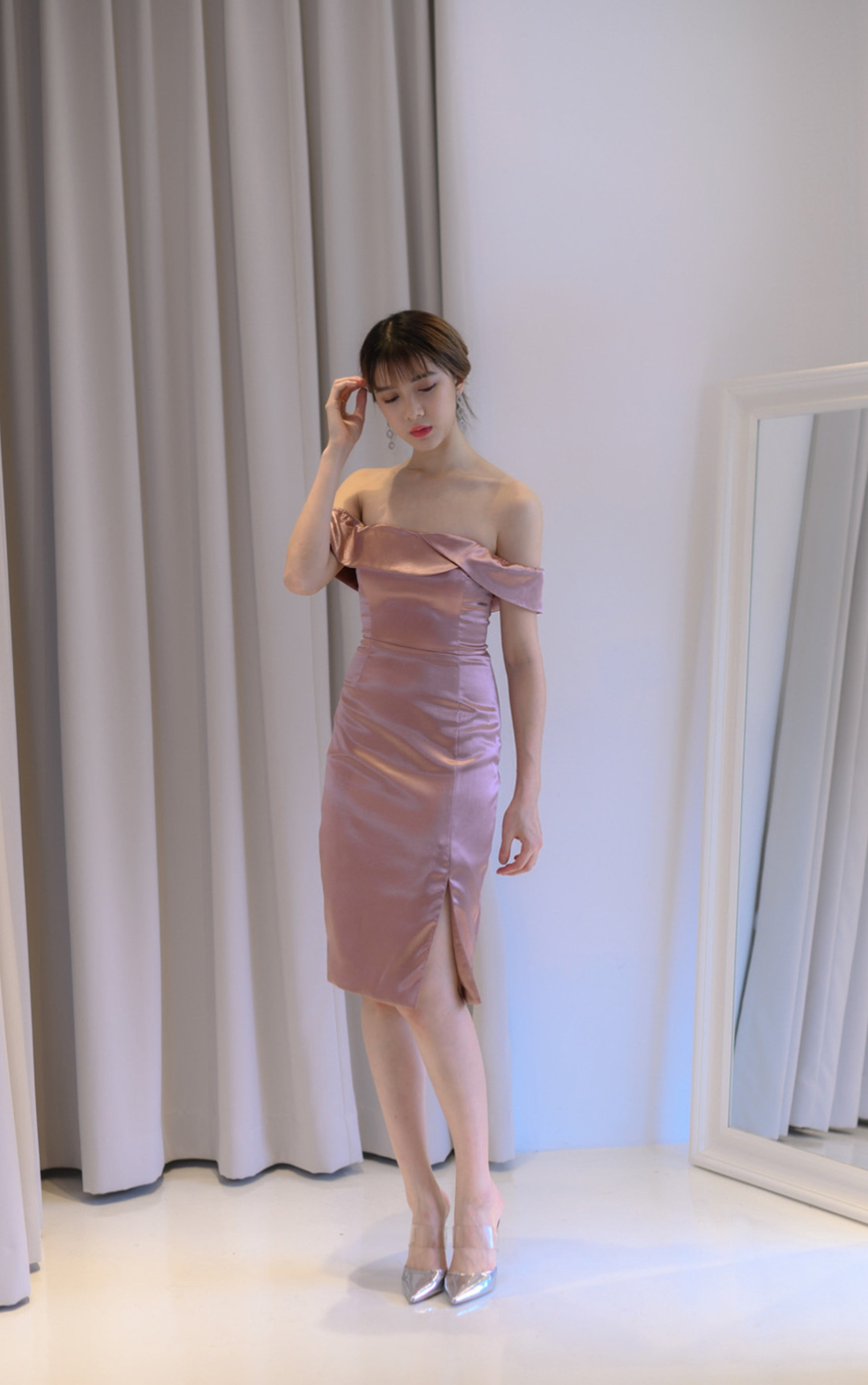 Sake Rose Gold Off Shoulder Dress