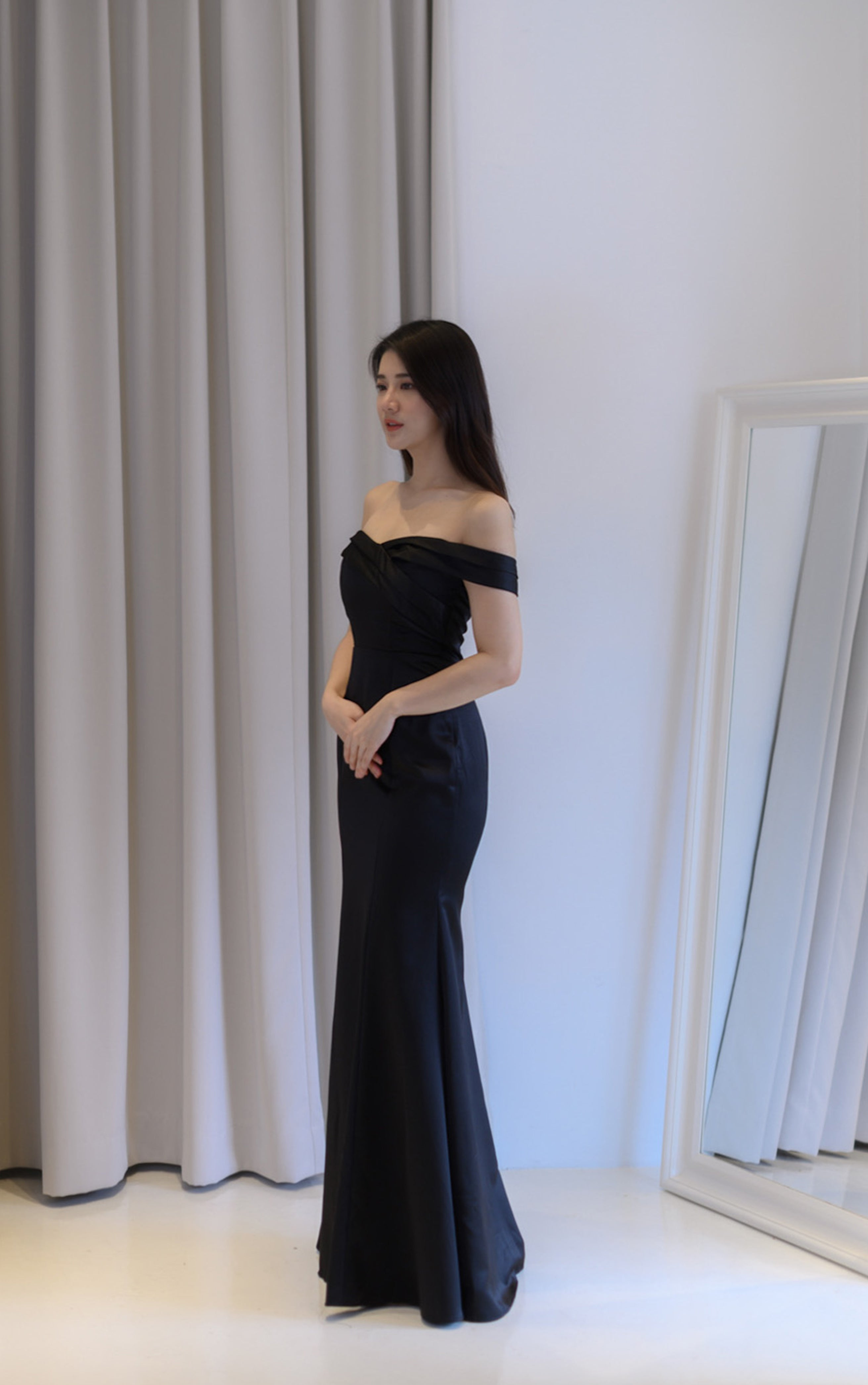 Sake Silky Off Shoulder Black Dress