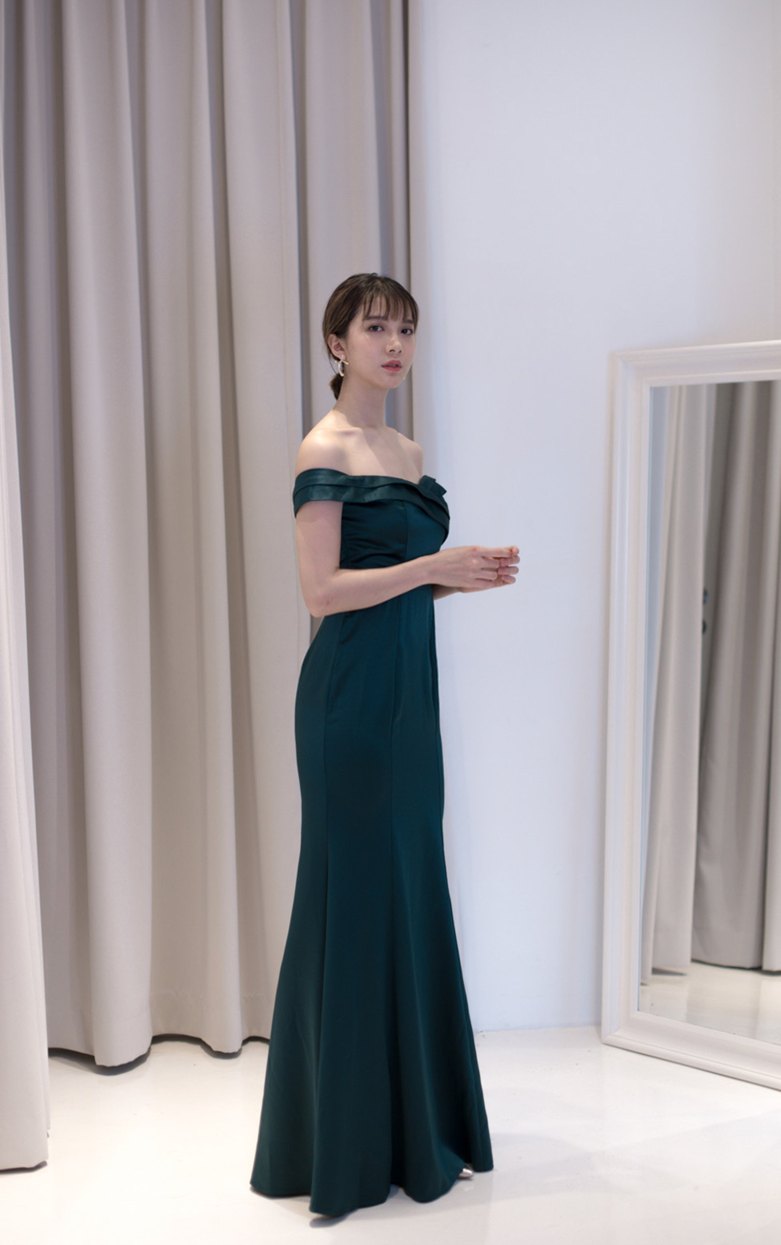 Sake Silky Off Shoulder Emerald Dress
