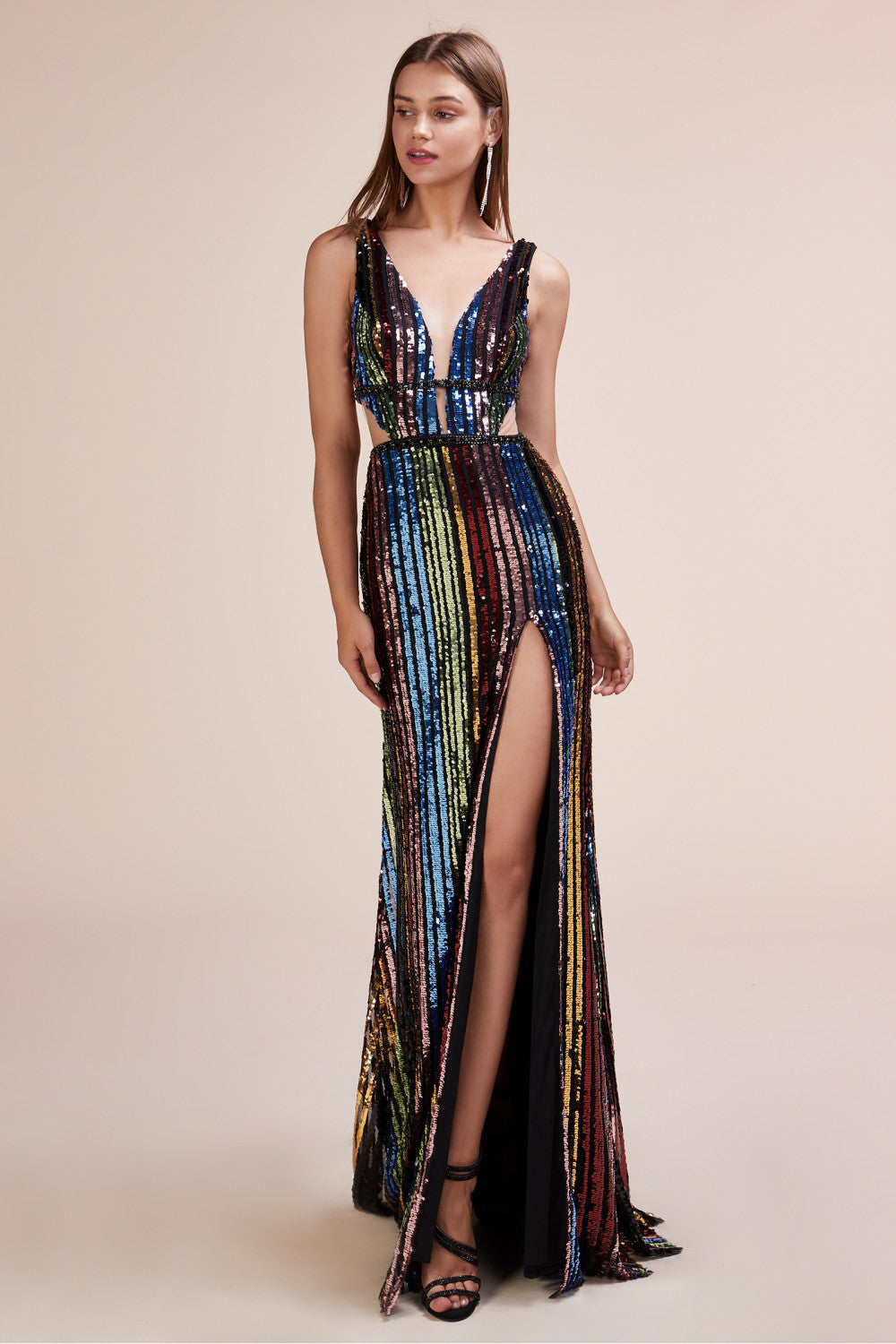 AL Rainbow Sequin Gown