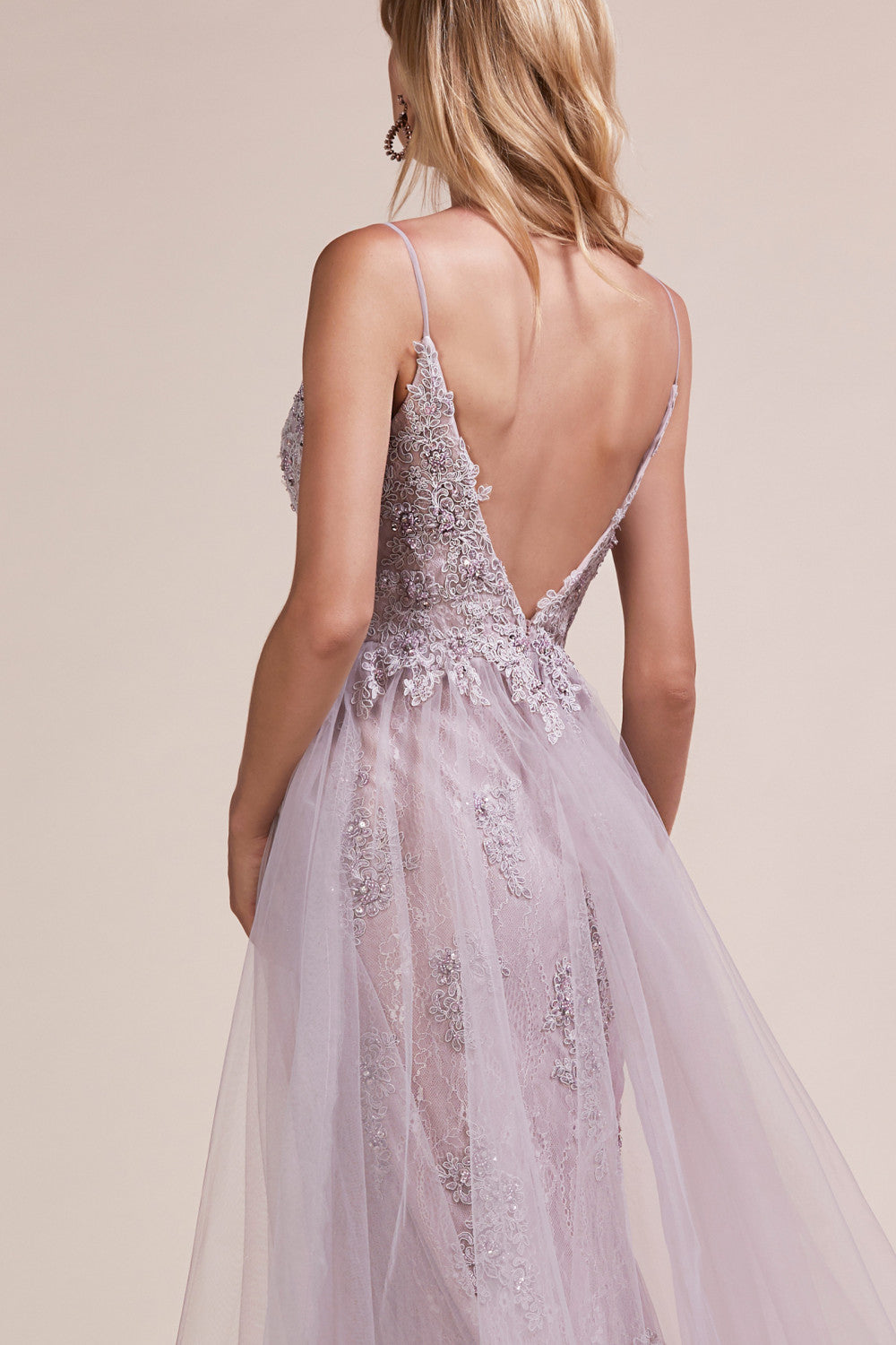 AL Mauve Lace Tulle Overskirt Gown