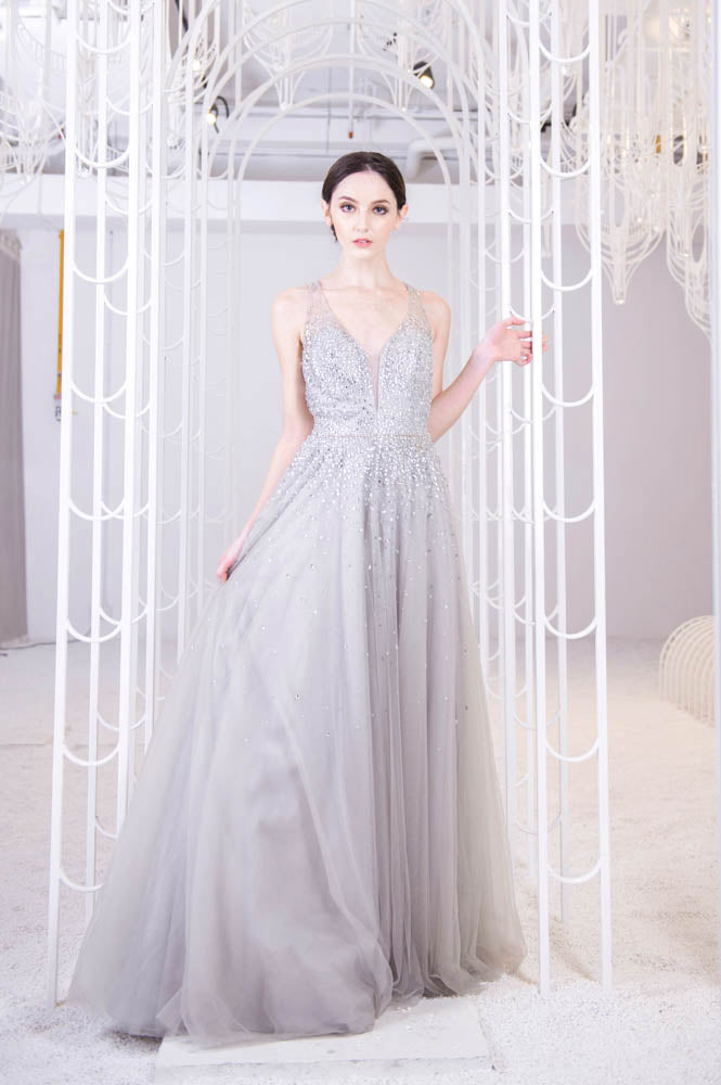 J Cyrena Crystal Grey Gown