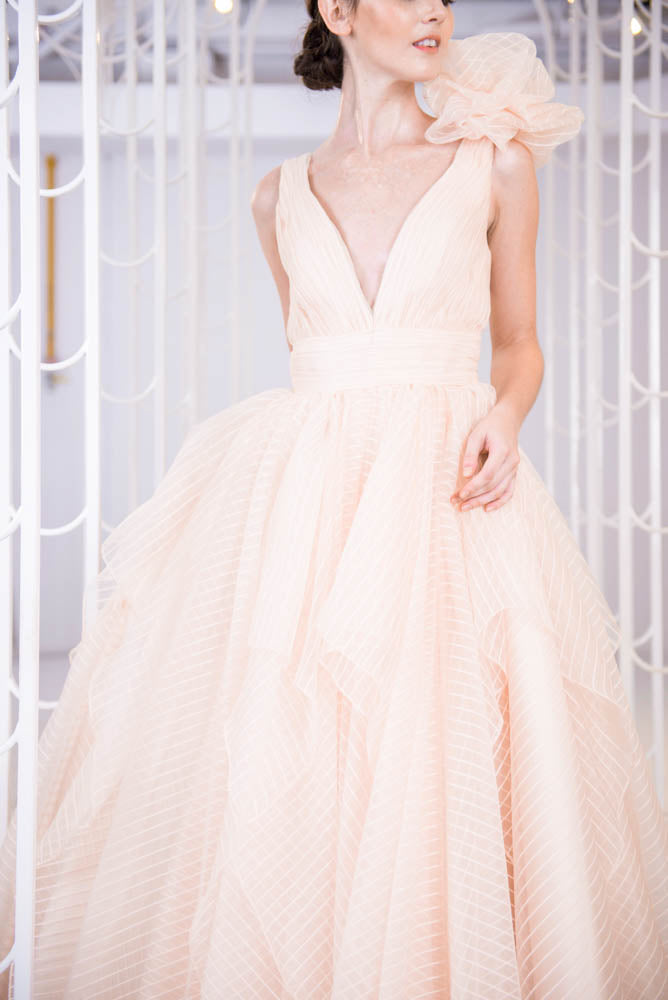 J Dion Light Champagne Gown