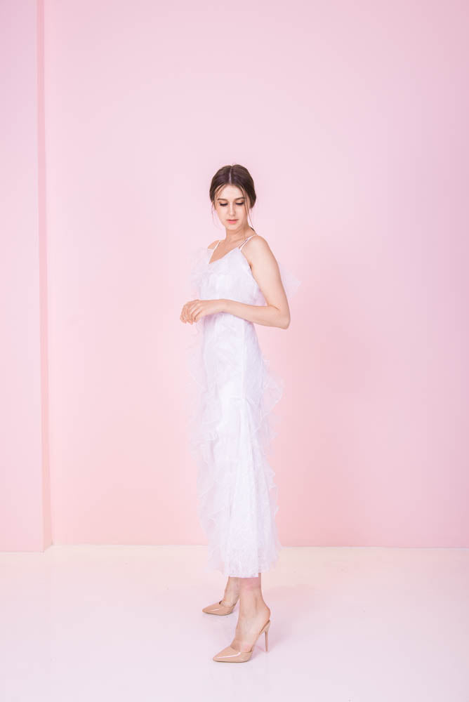 *LAST PIECE* Dreamy Ruffles White Dress