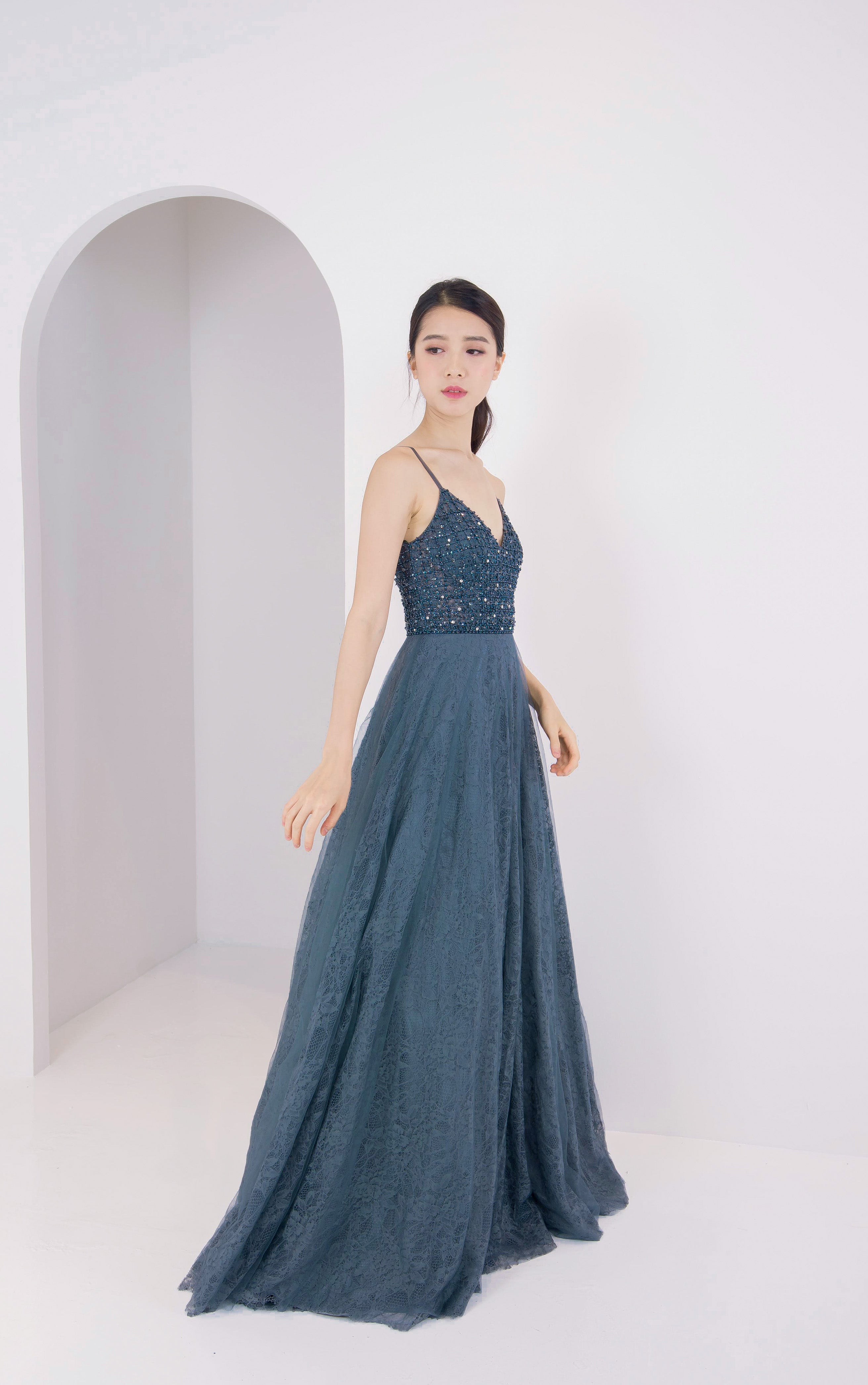 J Elpis Navy Beaded Gown