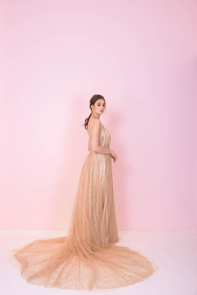 Lite Grace Backless Gold Gown