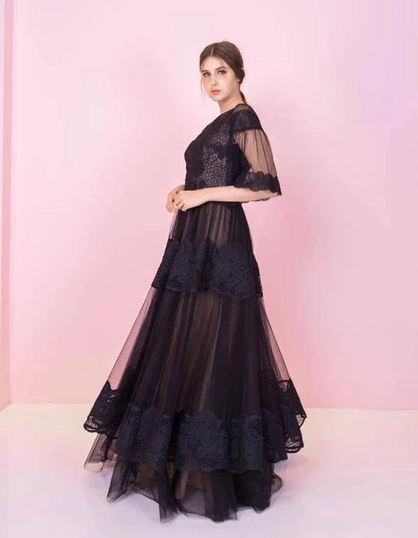 Hepburn Lace Black Gown