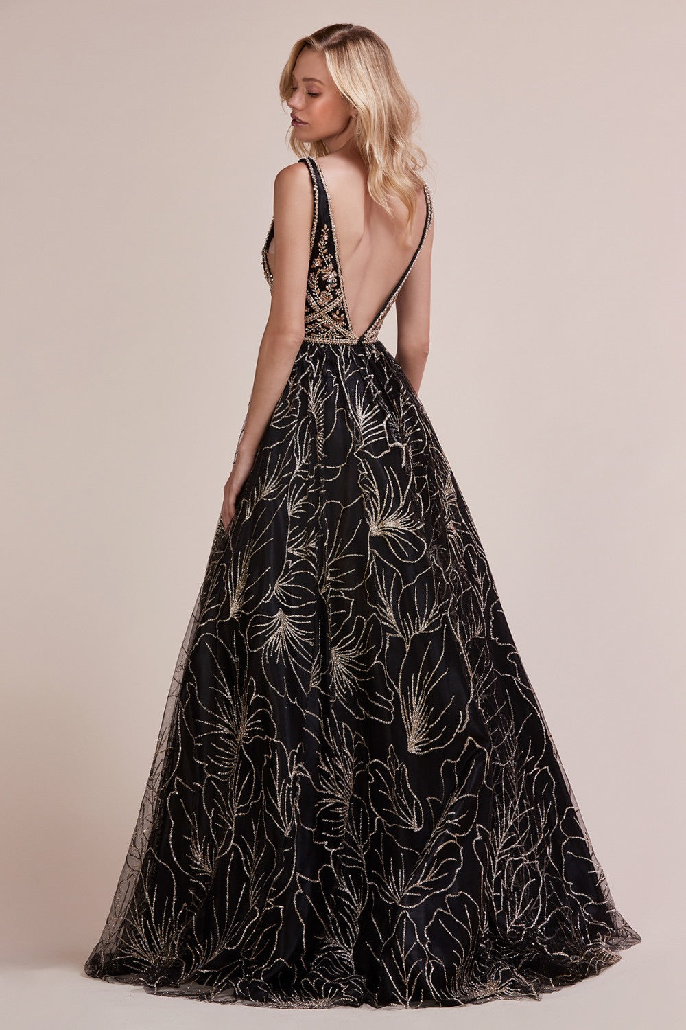 AL Zinnia Glitz Black Gold Gown