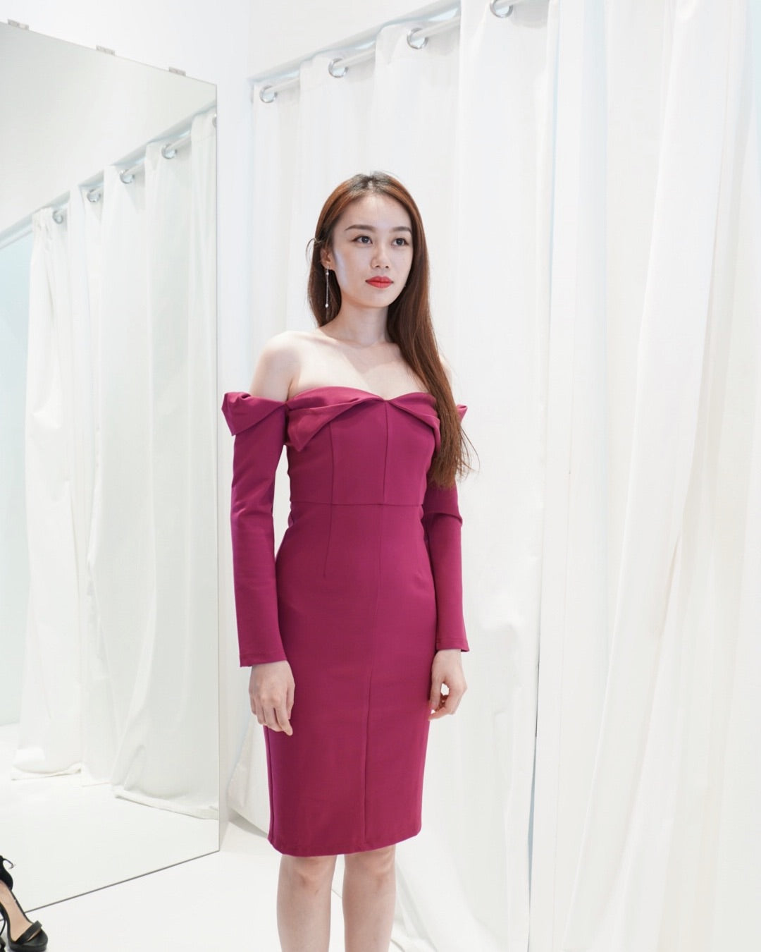 Fuhsia Rose Off Shoulder Dress