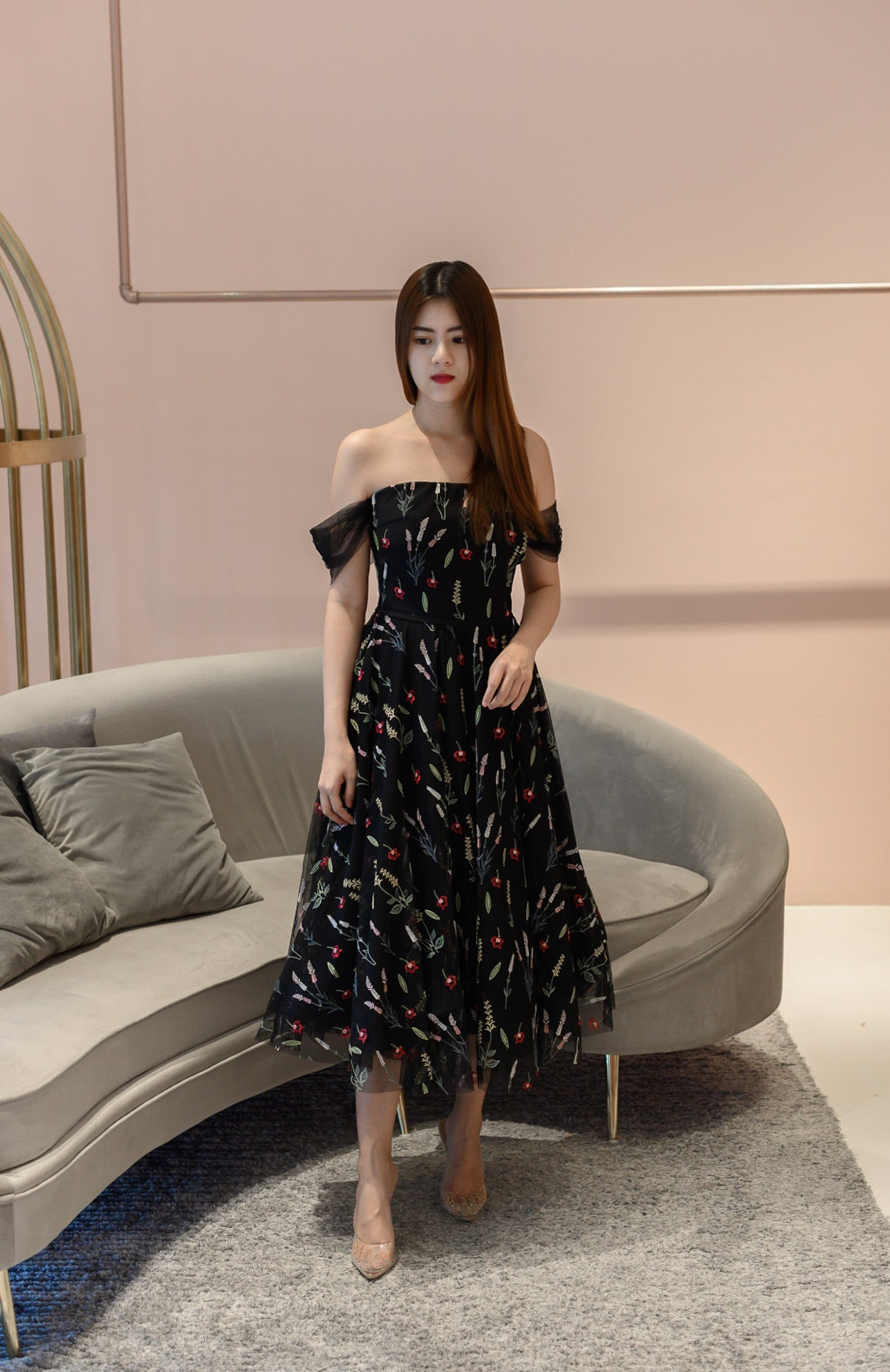 Duchess Flowery Off Shoulder Dress